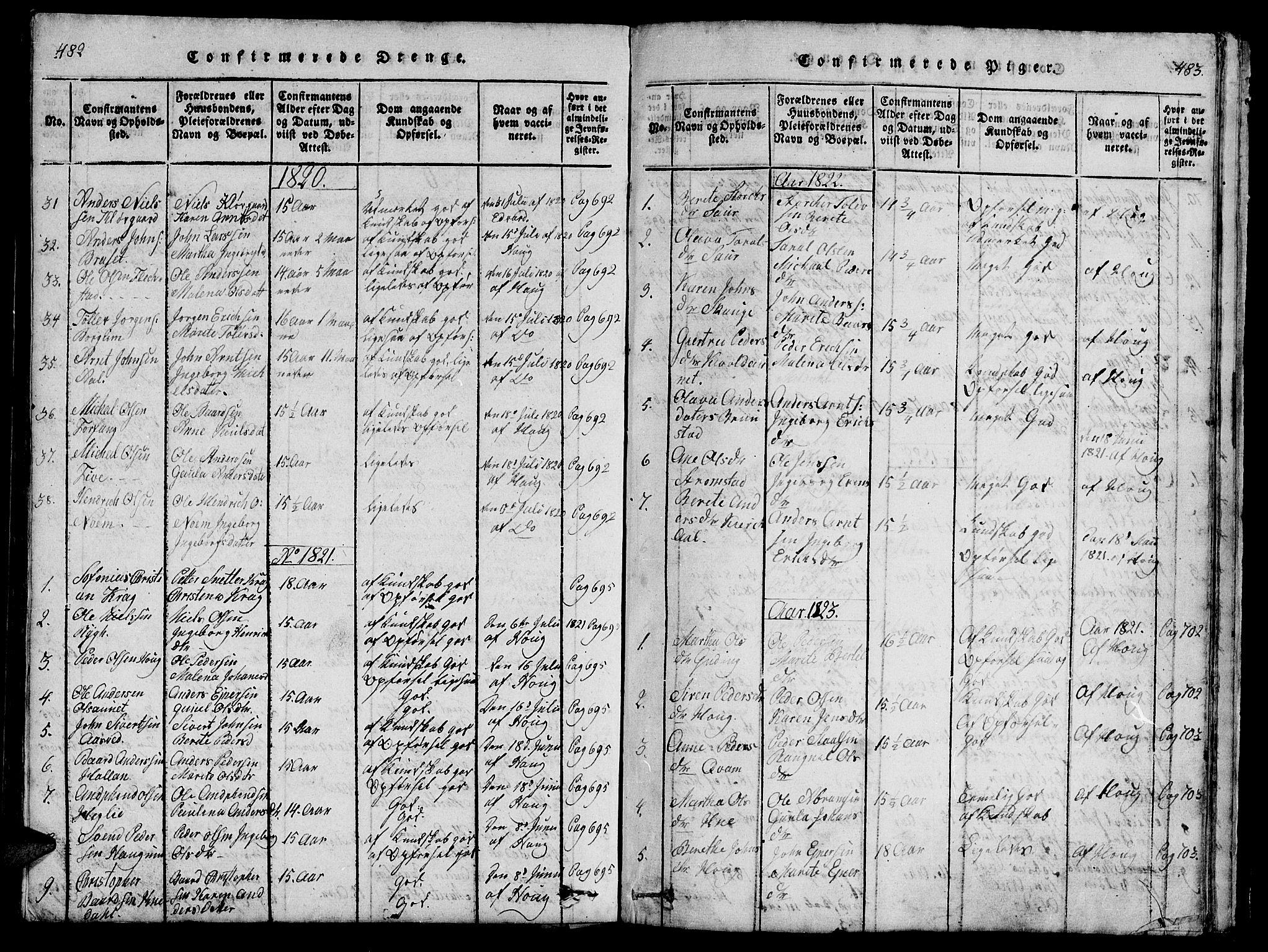 SAT, Ministerialprotokoller, klokkerbøker og fødselsregistre - Nord-Trøndelag, 747/L0459: Klokkerbok nr. 747C01, 1816-1842, s. 482-483
