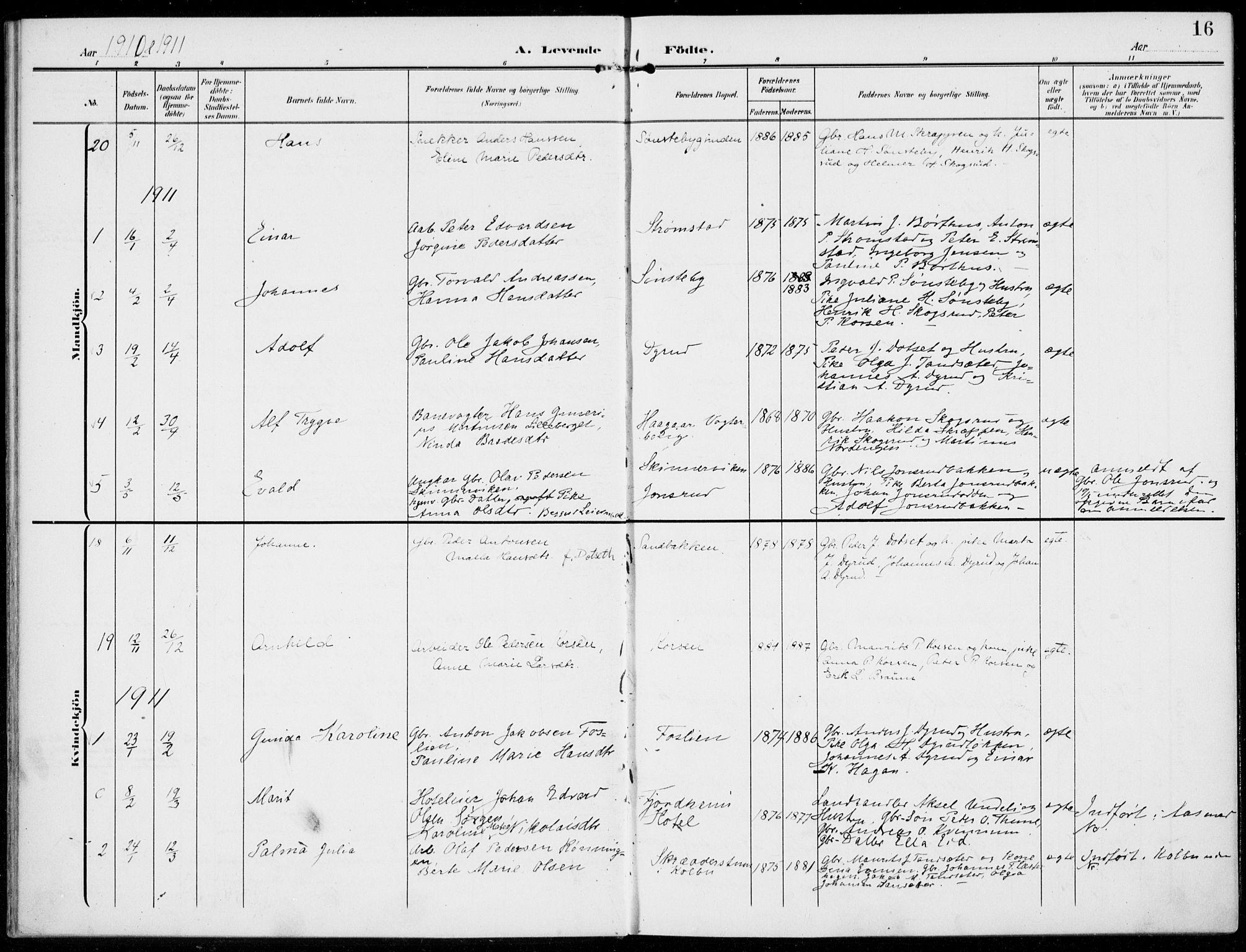 SAH, Kolbu prestekontor, Ministerialbok nr. 1, 1907-1923, s. 16