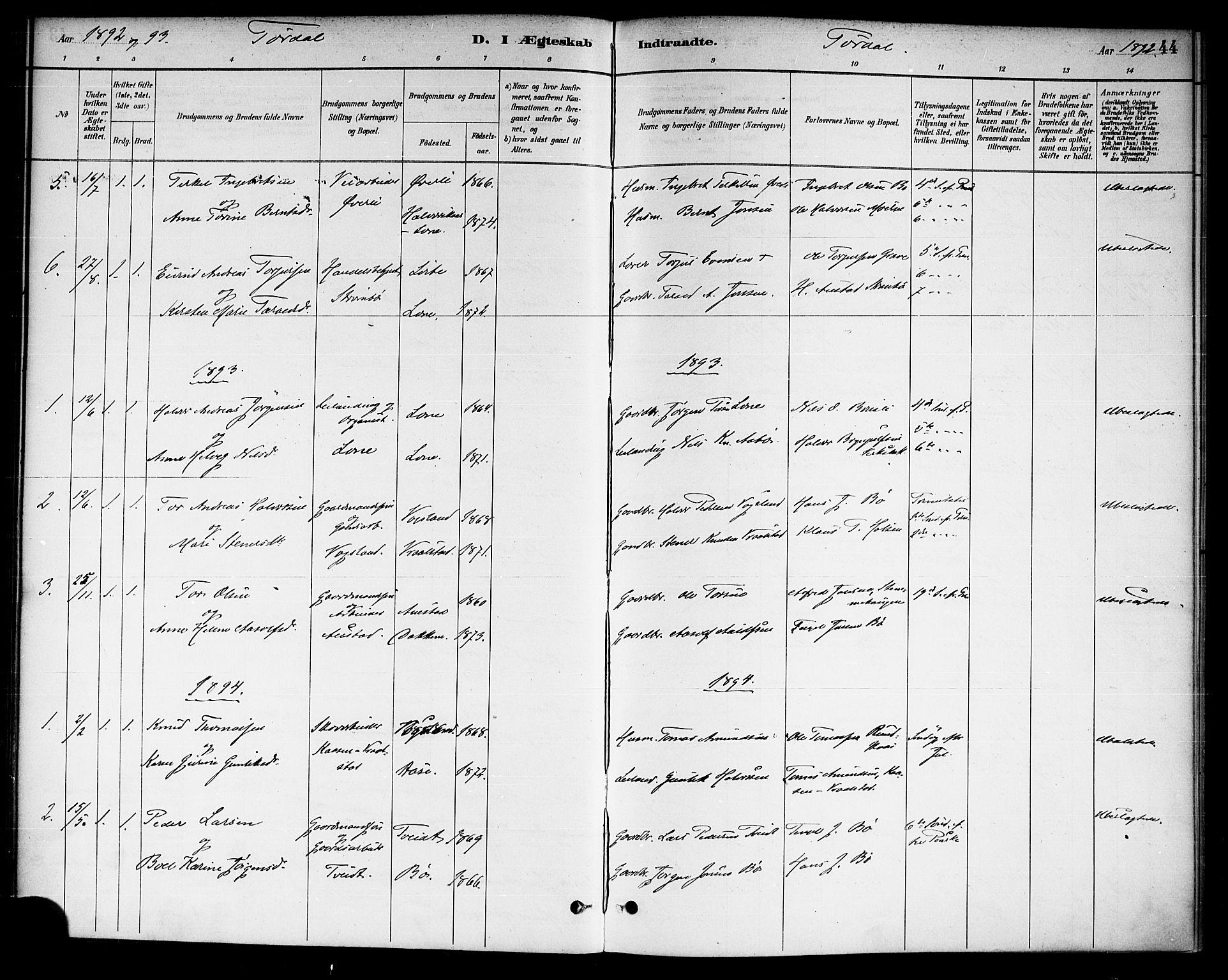 SAKO, Drangedal kirkebøker, F/Fa/L0011: Ministerialbok nr. 11 /2, 1885-1894, s. 44