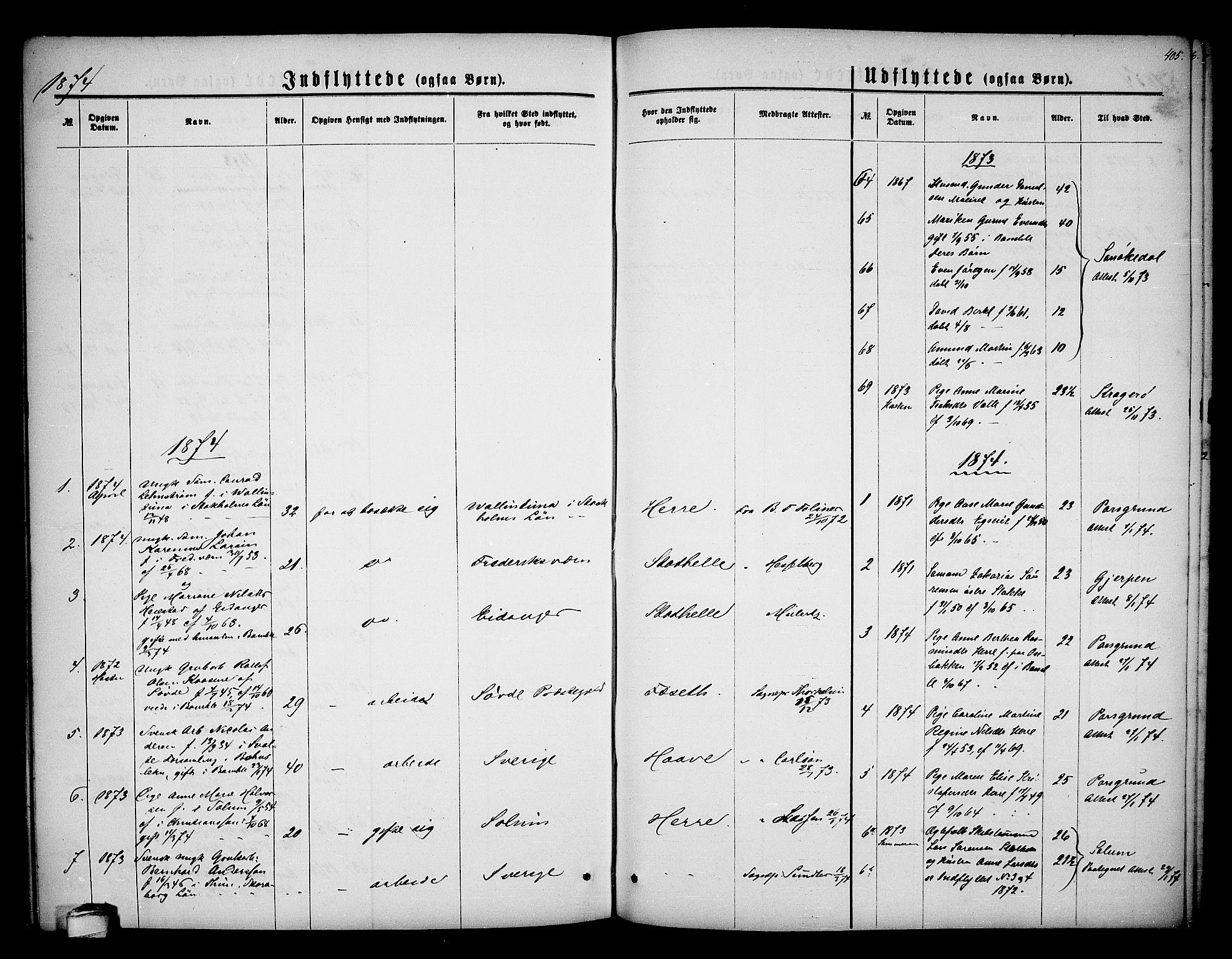 SAKO, Bamble kirkebøker, G/Ga/L0006: Klokkerbok nr. I 6, 1860-1876, s. 405