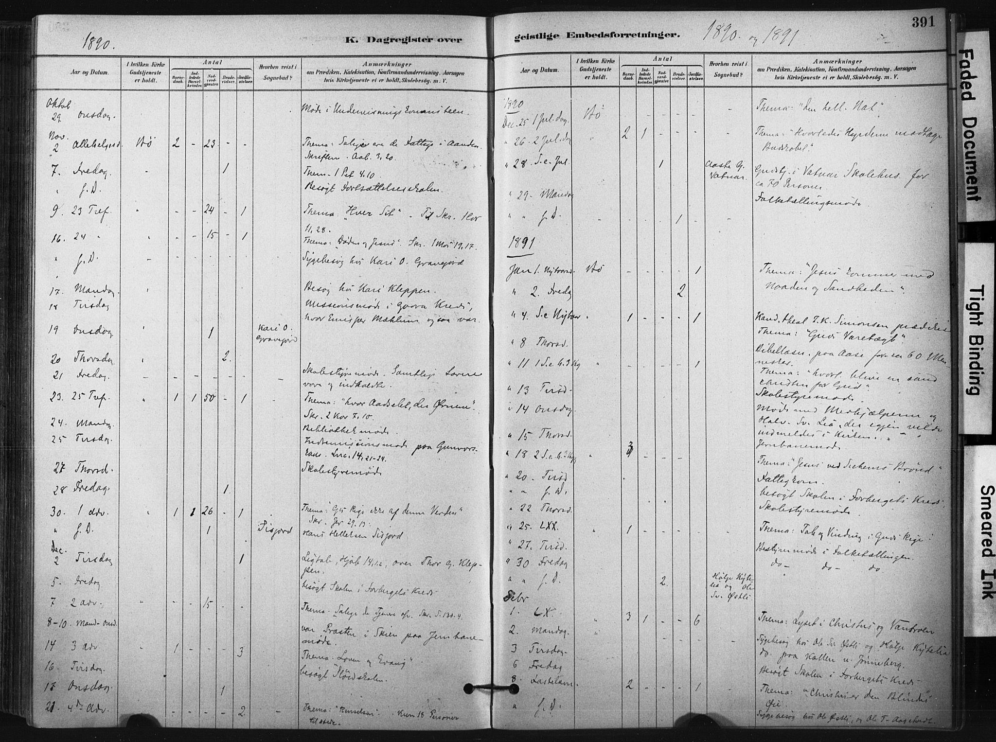 SAKO, Bø kirkebøker, F/Fa/L0010: Ministerialbok nr. 10, 1880-1892, s. 391
