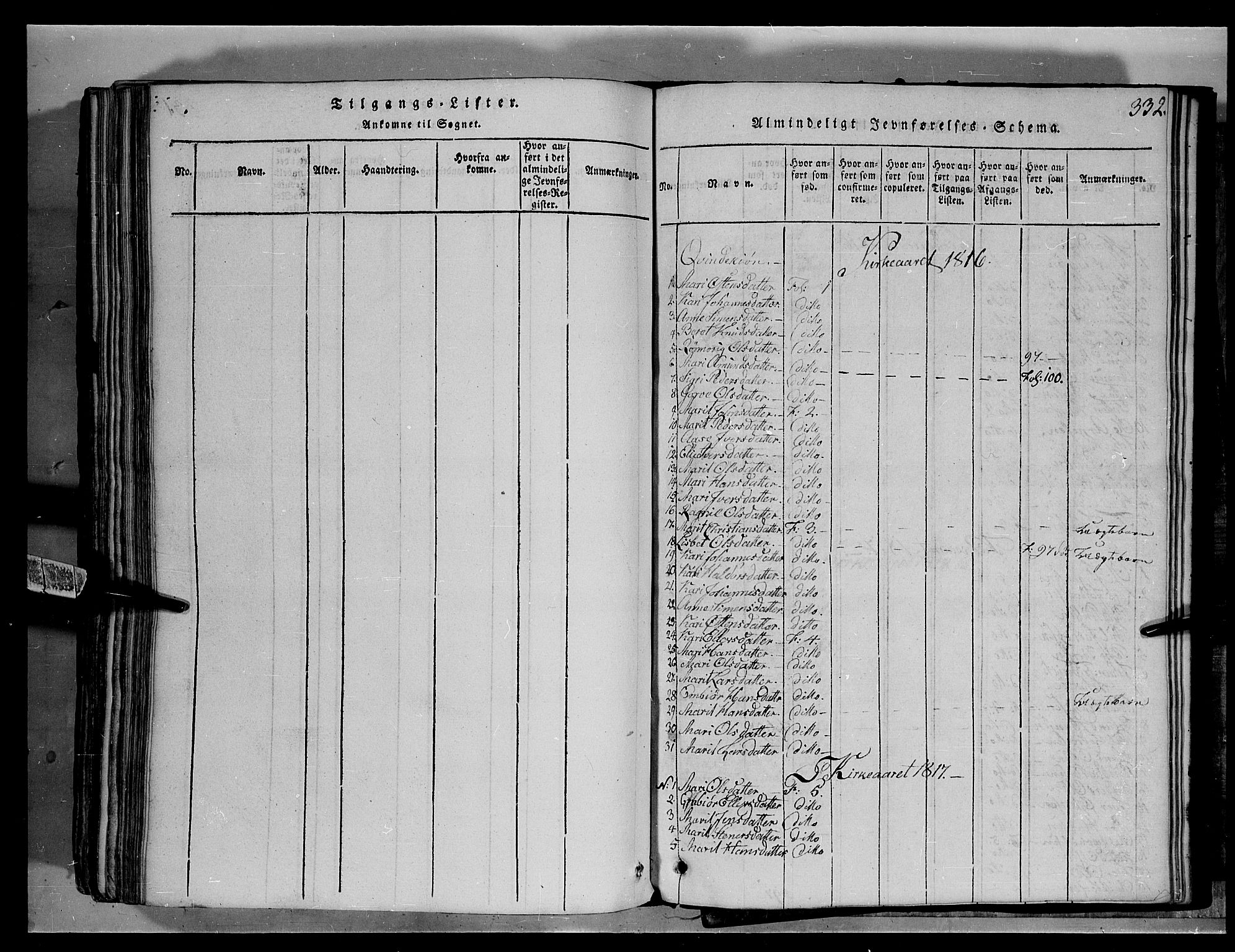 SAH, Fron prestekontor, H/Ha/Hab/L0004: Klokkerbok nr. 4, 1816-1850, s. 332