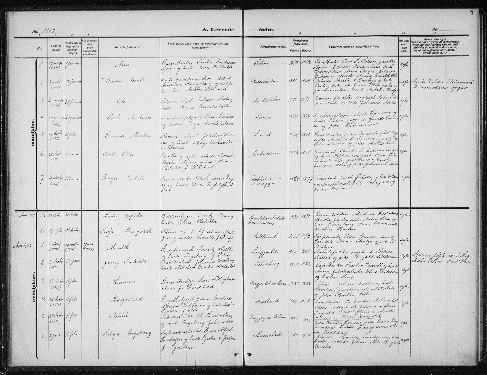 SAT, Ministerialprotokoller, klokkerbøker og fødselsregistre - Sør-Trøndelag, 606/L0314: Klokkerbok nr. 606C10, 1911-1937, s. 7