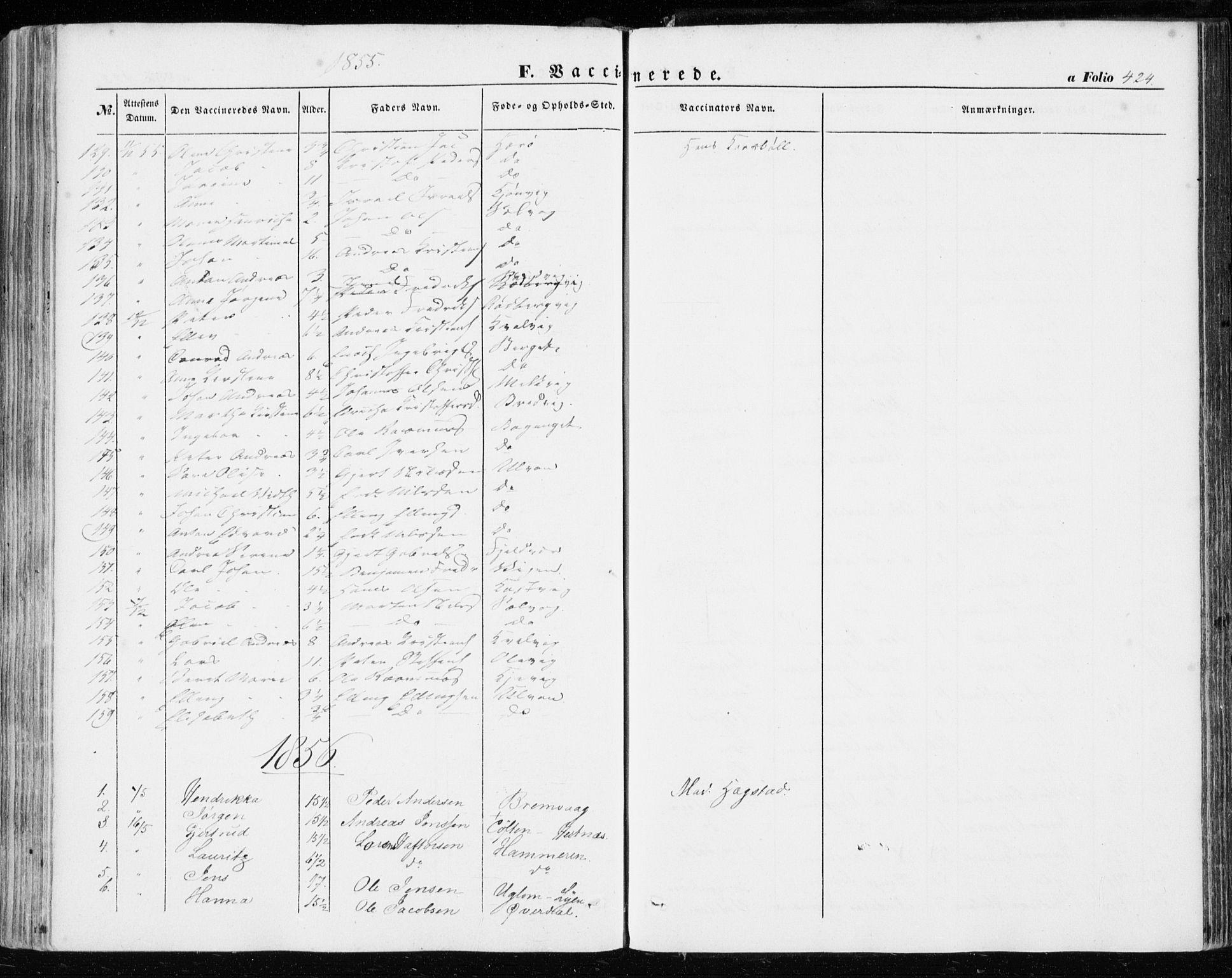 SAT, Ministerialprotokoller, klokkerbøker og fødselsregistre - Sør-Trøndelag, 634/L0530: Ministerialbok nr. 634A06, 1852-1860, s. 424