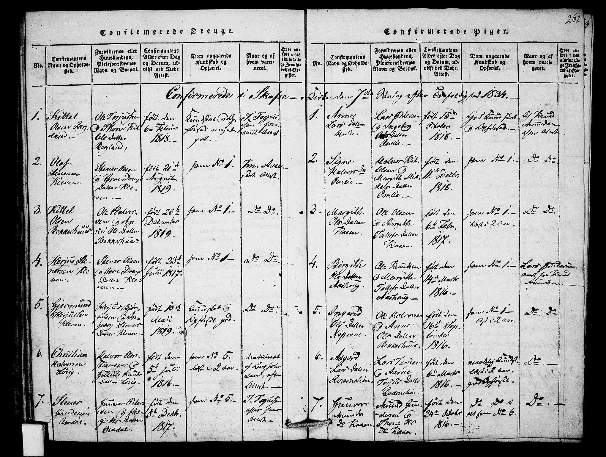 SAKO, Mo kirkebøker, F/Fb/L0001: Ministerialbok nr. II 1, 1814-1844, s. 262