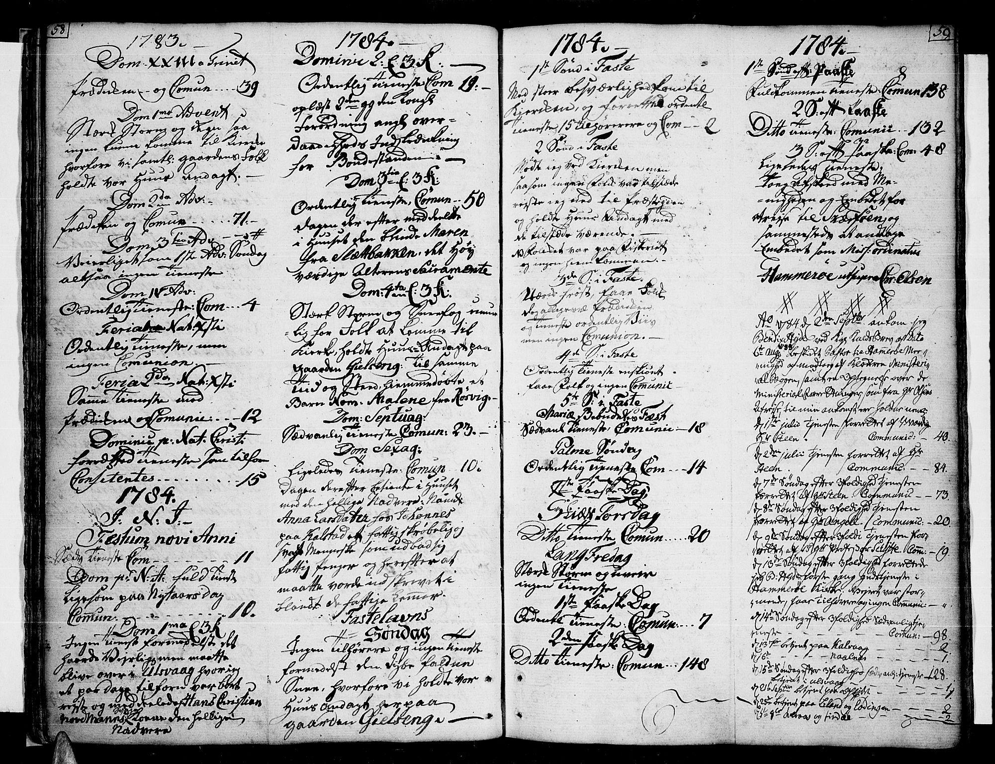 SAT, Ministerialprotokoller, klokkerbøker og fødselsregistre - Nordland, 859/L0841: Ministerialbok nr. 859A01, 1766-1821, s. 58-59