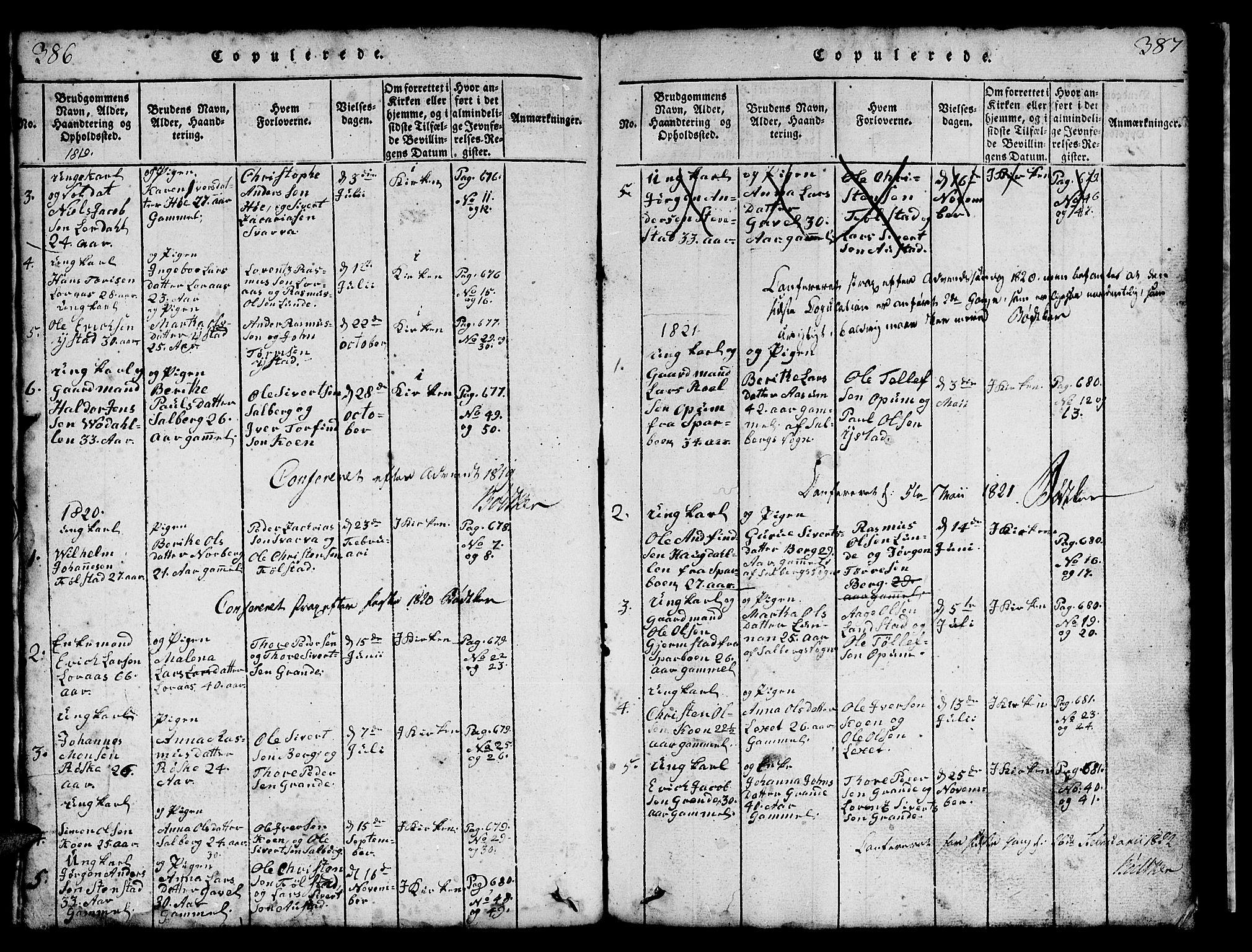 SAT, Ministerialprotokoller, klokkerbøker og fødselsregistre - Nord-Trøndelag, 731/L0310: Klokkerbok nr. 731C01, 1816-1874, s. 386-387