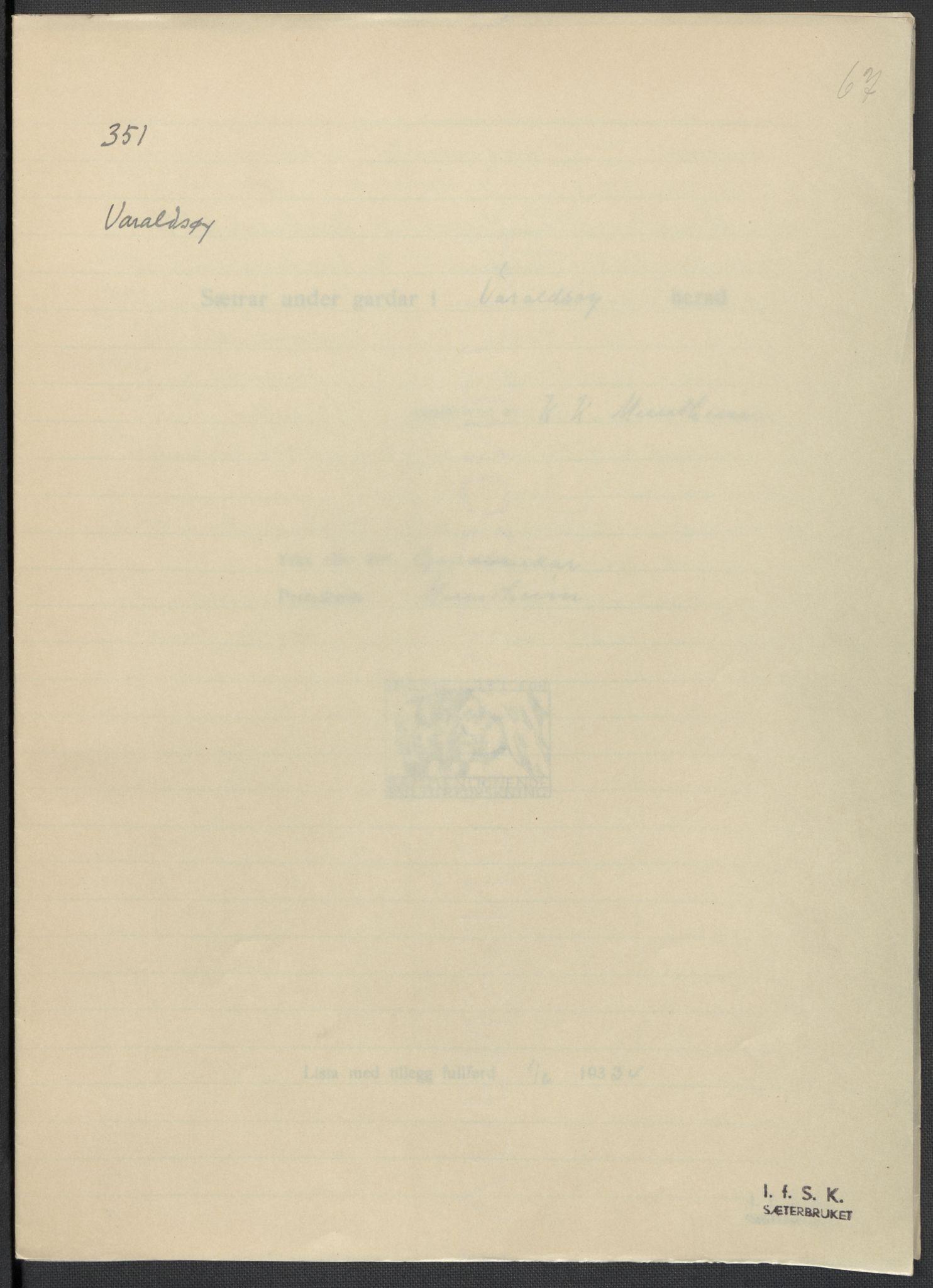 RA, Instituttet for sammenlignende kulturforskning, F/Fc/L0010: Eske B10:, 1932-1935, s. 67