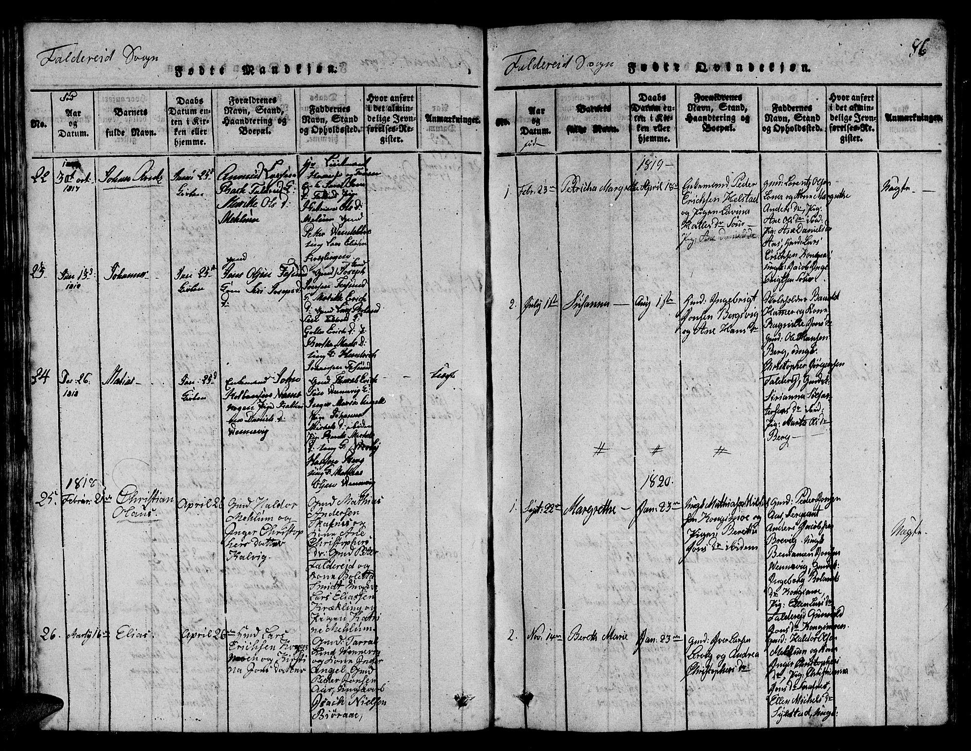 SAT, Ministerialprotokoller, klokkerbøker og fødselsregistre - Nord-Trøndelag, 780/L0648: Klokkerbok nr. 780C01 /3, 1815-1877, s. 86