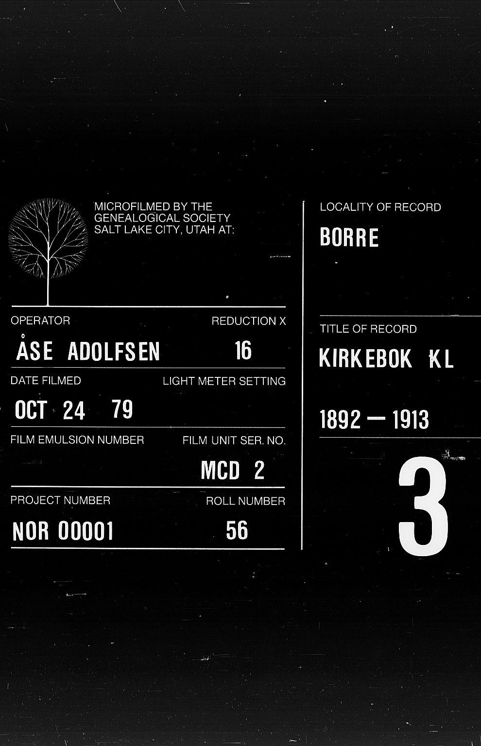 SAKO, Borre kirkebøker, G/Ga/L0004: Klokkerbok nr. I 4, 1892-1913