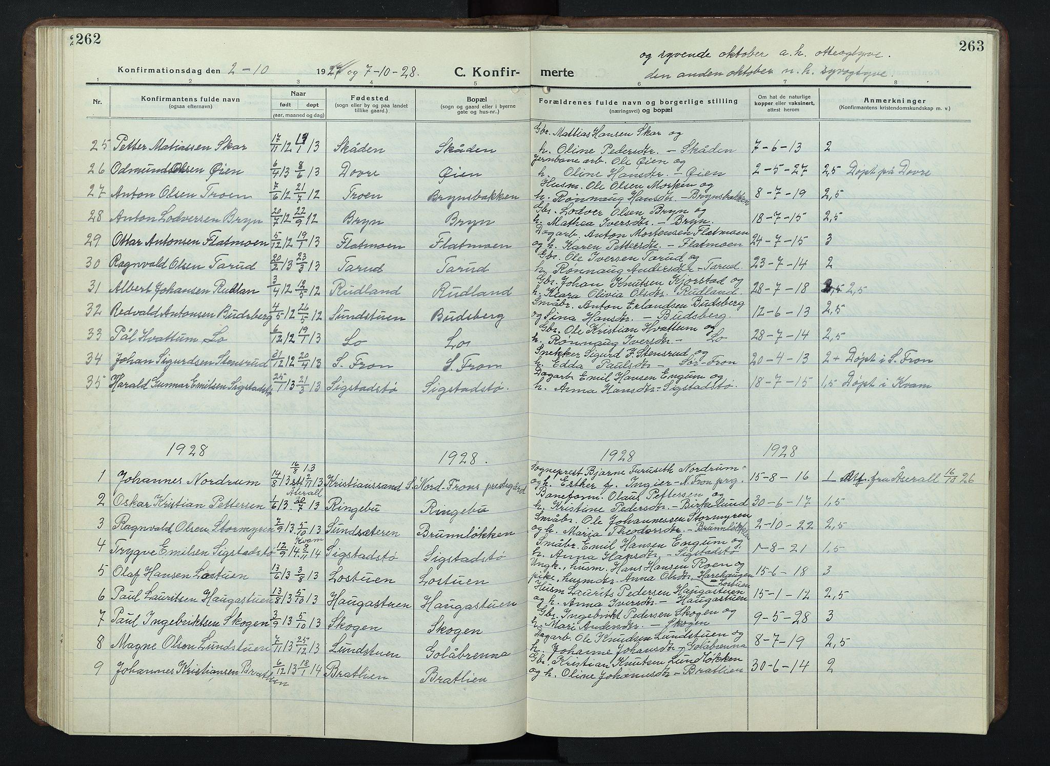 SAH, Nord-Fron prestekontor, Klokkerbok nr. 7, 1915-1946, s. 262-263