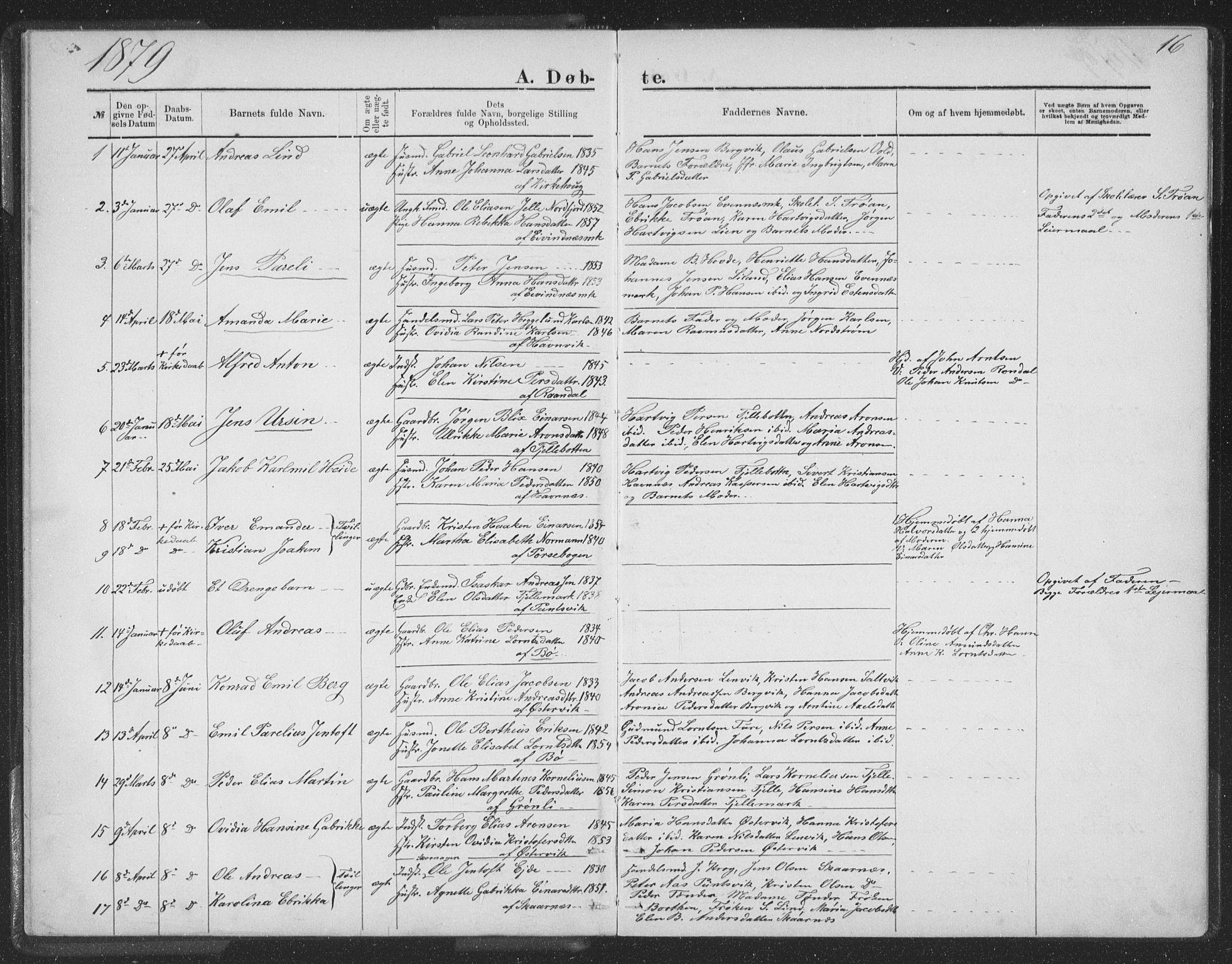SAT, Ministerialprotokoller, klokkerbøker og fødselsregistre - Nordland, 863/L0913: Klokkerbok nr. 863C03, 1877-1885, s. 16