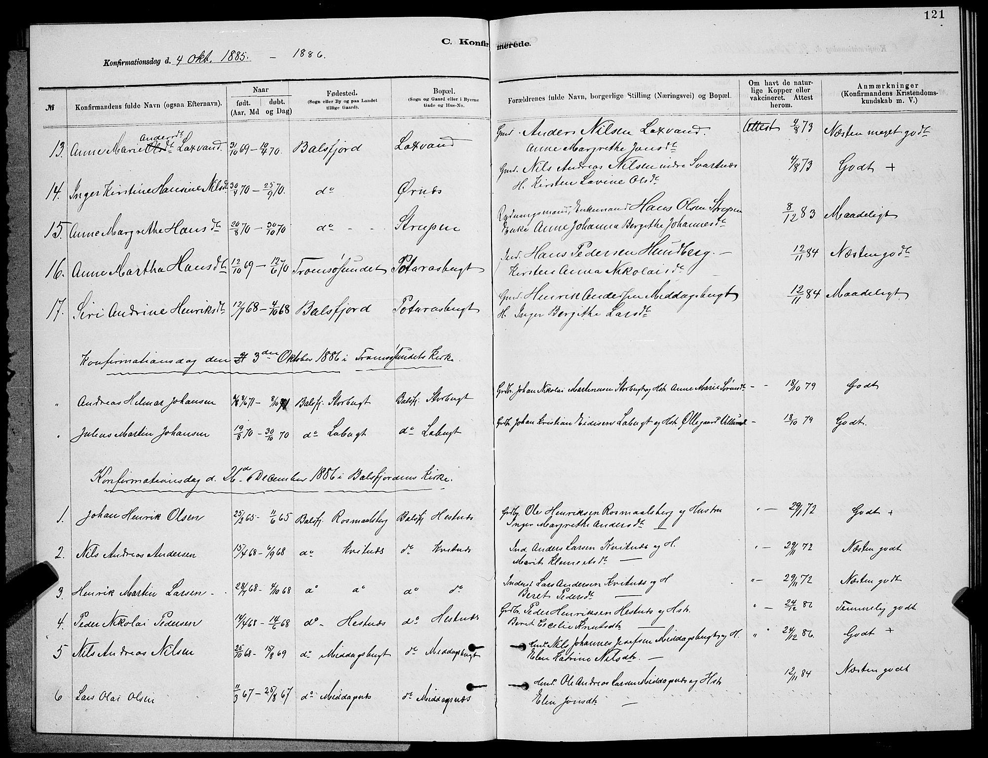 SATØ, Balsfjord sokneprestembete, Klokkerbok nr. 7, 1878-1889, s. 121