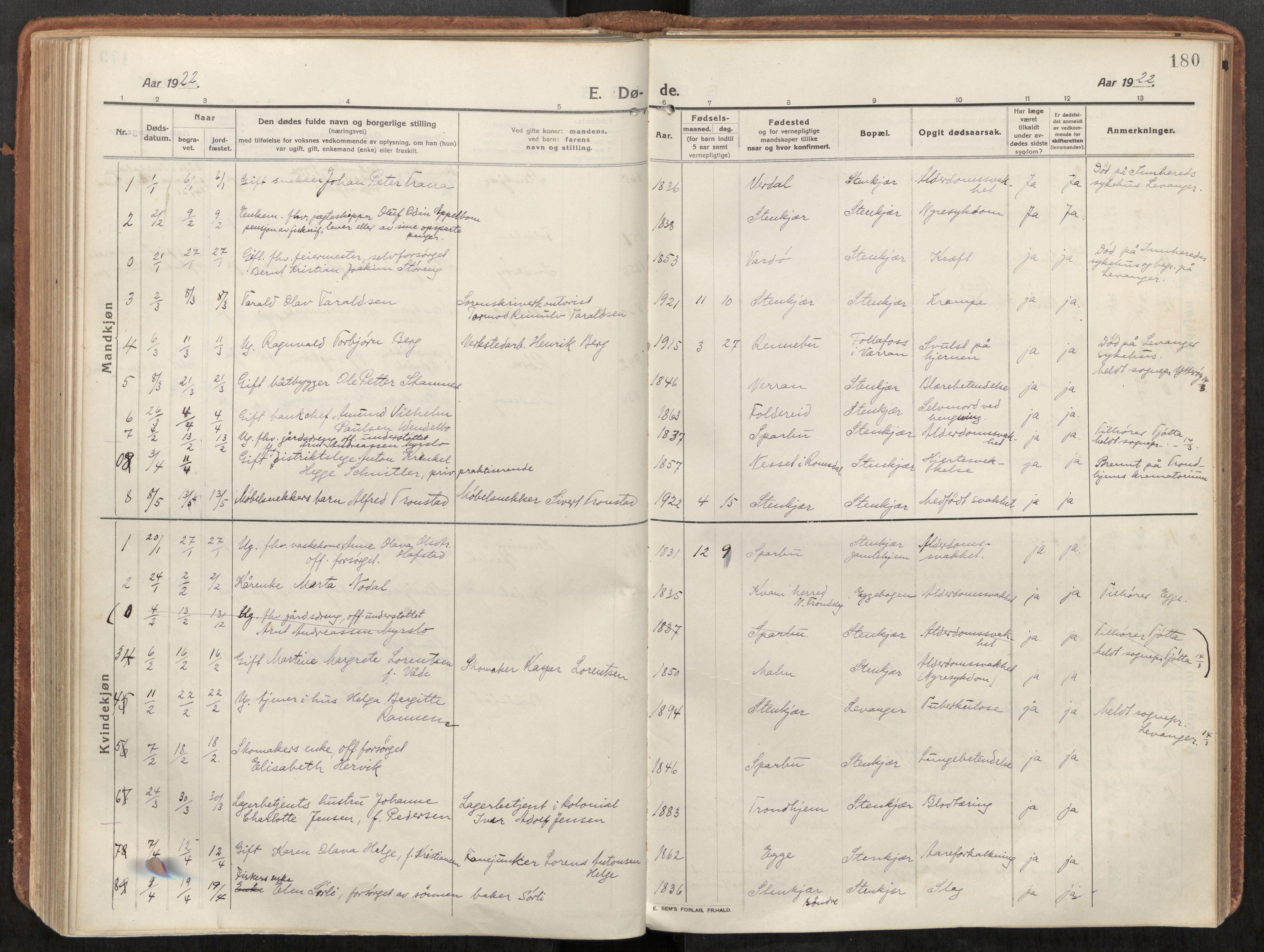 SAT, Steinkjer sokneprestkontor, H/Ha/Haa/L0003: Ministerialbok nr. 3, 1913-1922, s. 180