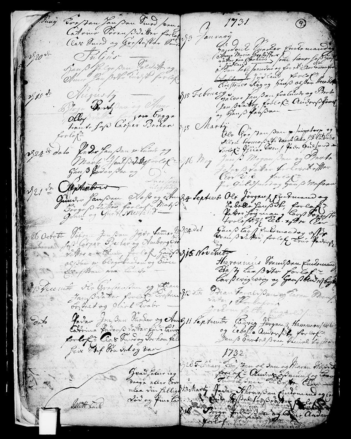 SAKO, Skien kirkebøker, F/Fa/L0002: Ministerialbok nr. 2, 1716-1757, s. 9