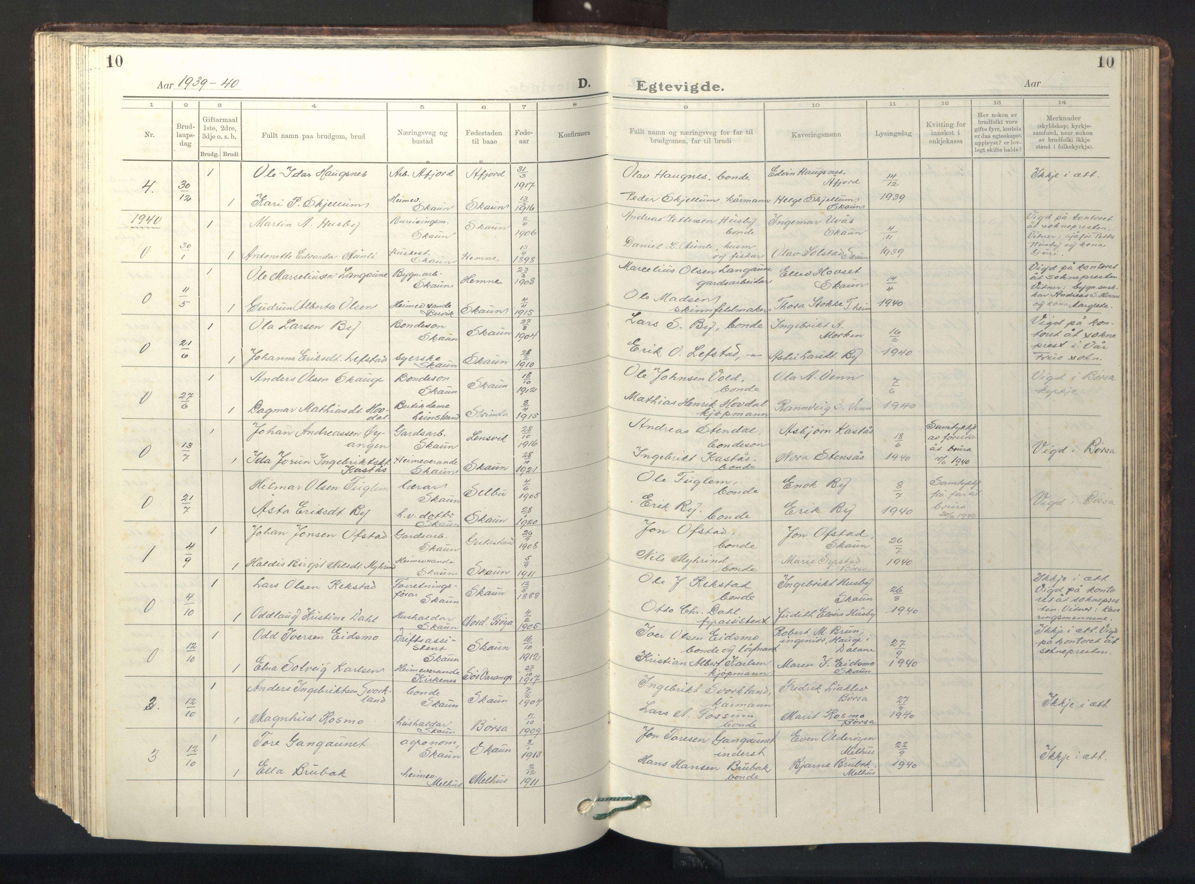 SAT, Ministerialprotokoller, klokkerbøker og fødselsregistre - Sør-Trøndelag, 667/L0799: Klokkerbok nr. 667C04, 1929-1950, s. 10