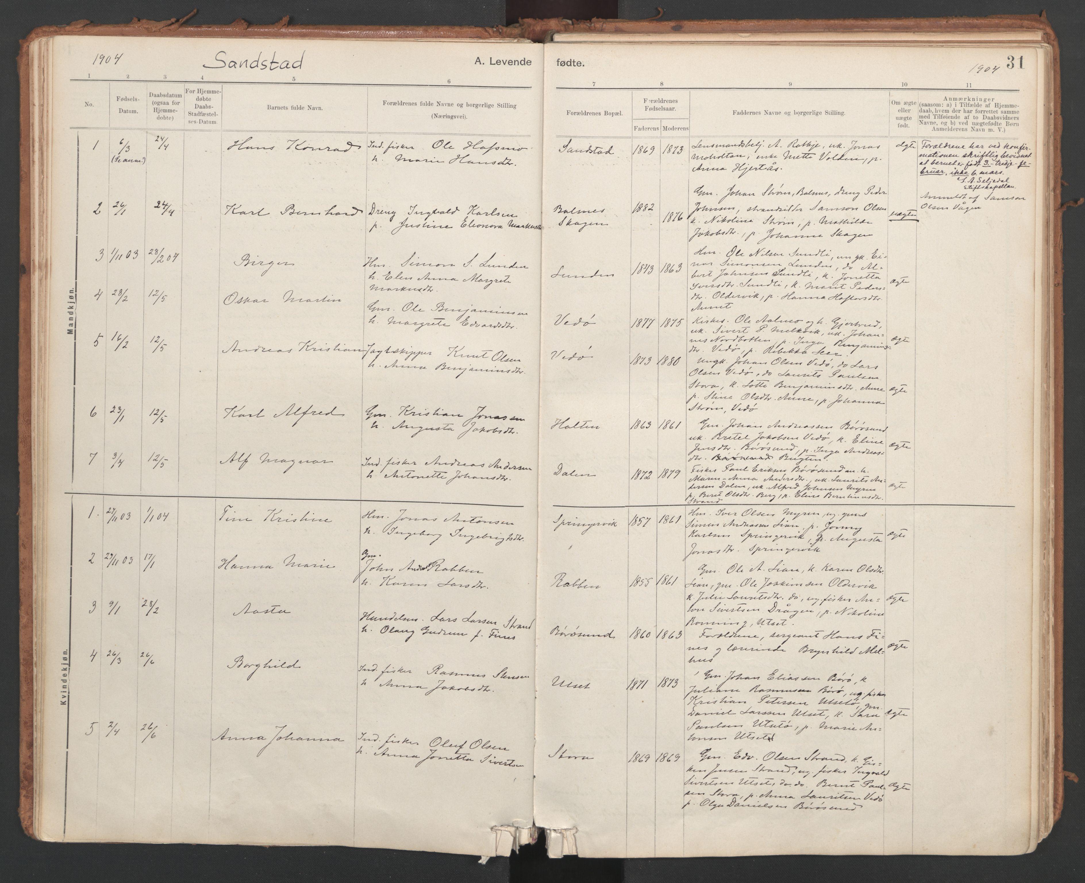 SAT, Ministerialprotokoller, klokkerbøker og fødselsregistre - Sør-Trøndelag, 639/L0572: Ministerialbok nr. 639A01, 1890-1920, s. 31