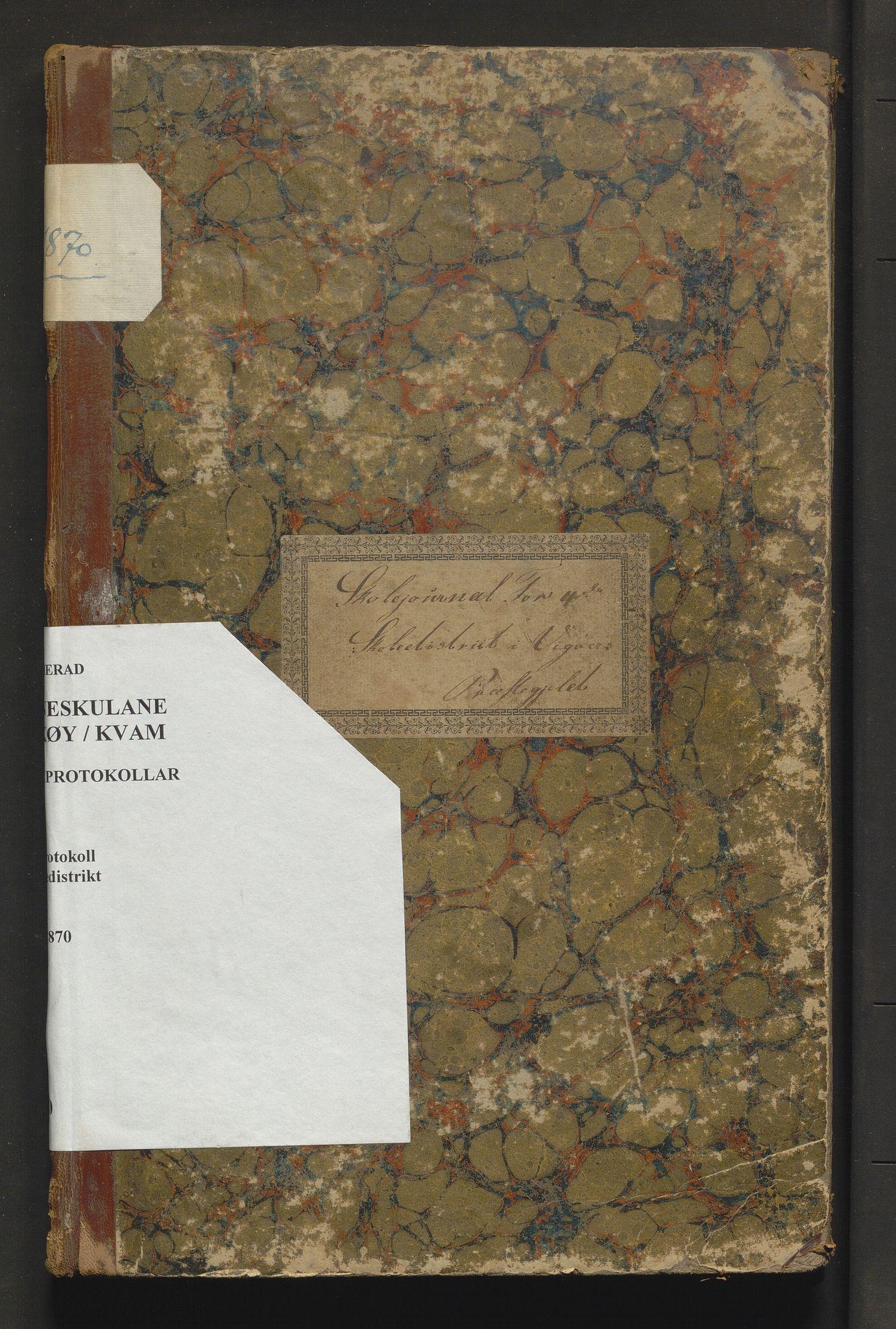 IKAH, Kvam herad. Barneskulane, F/Fa/L0010: Skuleprotokoll for læraren i 4. skuledistrikt i Vikøy prestegjeld m/inventarliste, 1854-1870