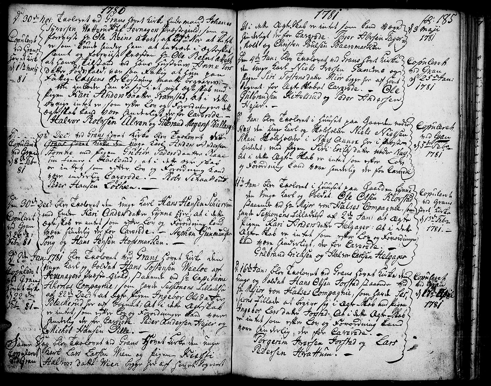 SAH, Gran prestekontor, Ministerialbok nr. 5, 1776-1788, s. 185