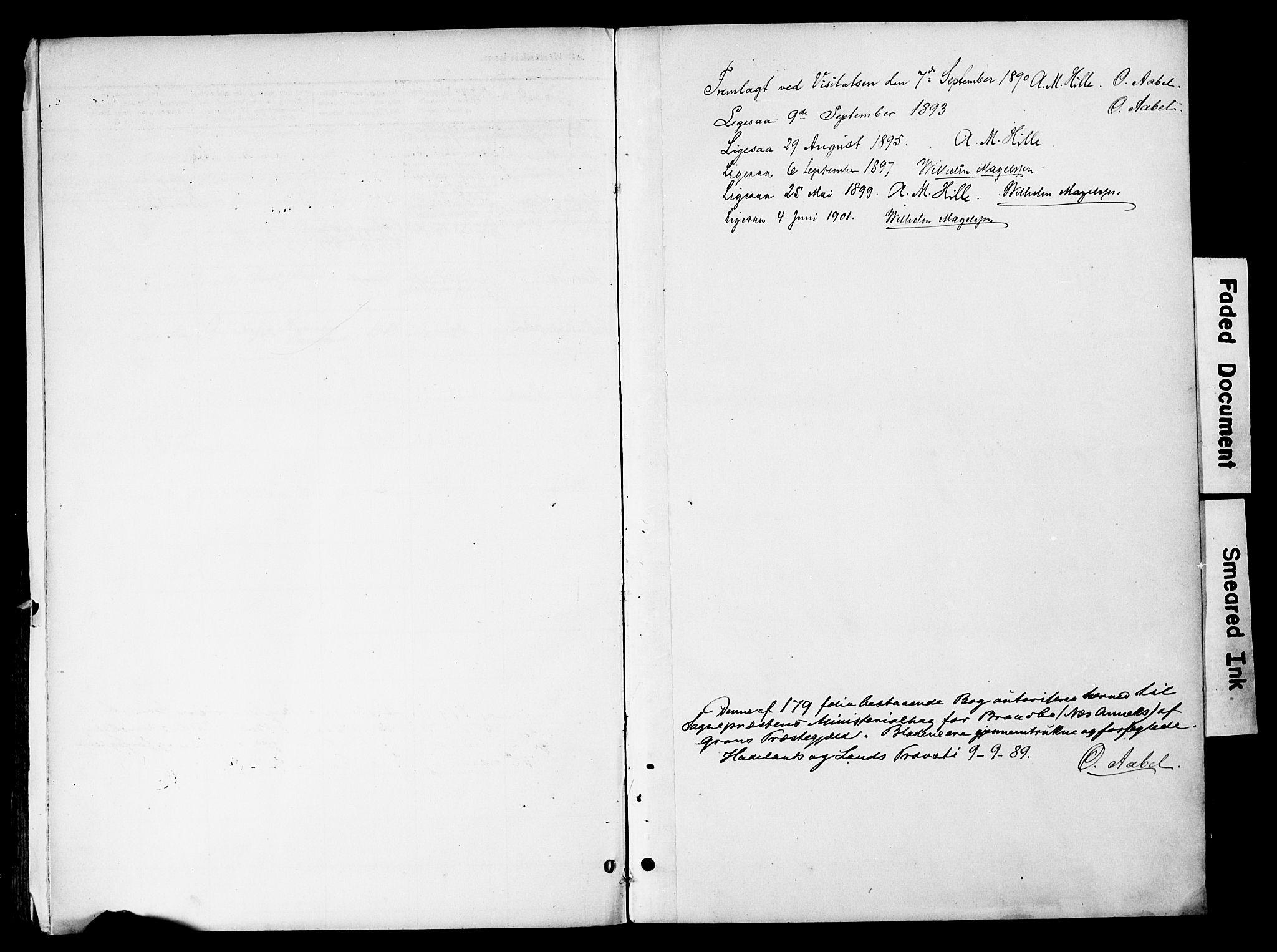 SAH, Gran prestekontor, Ministerialbok nr. 20, 1889-1899