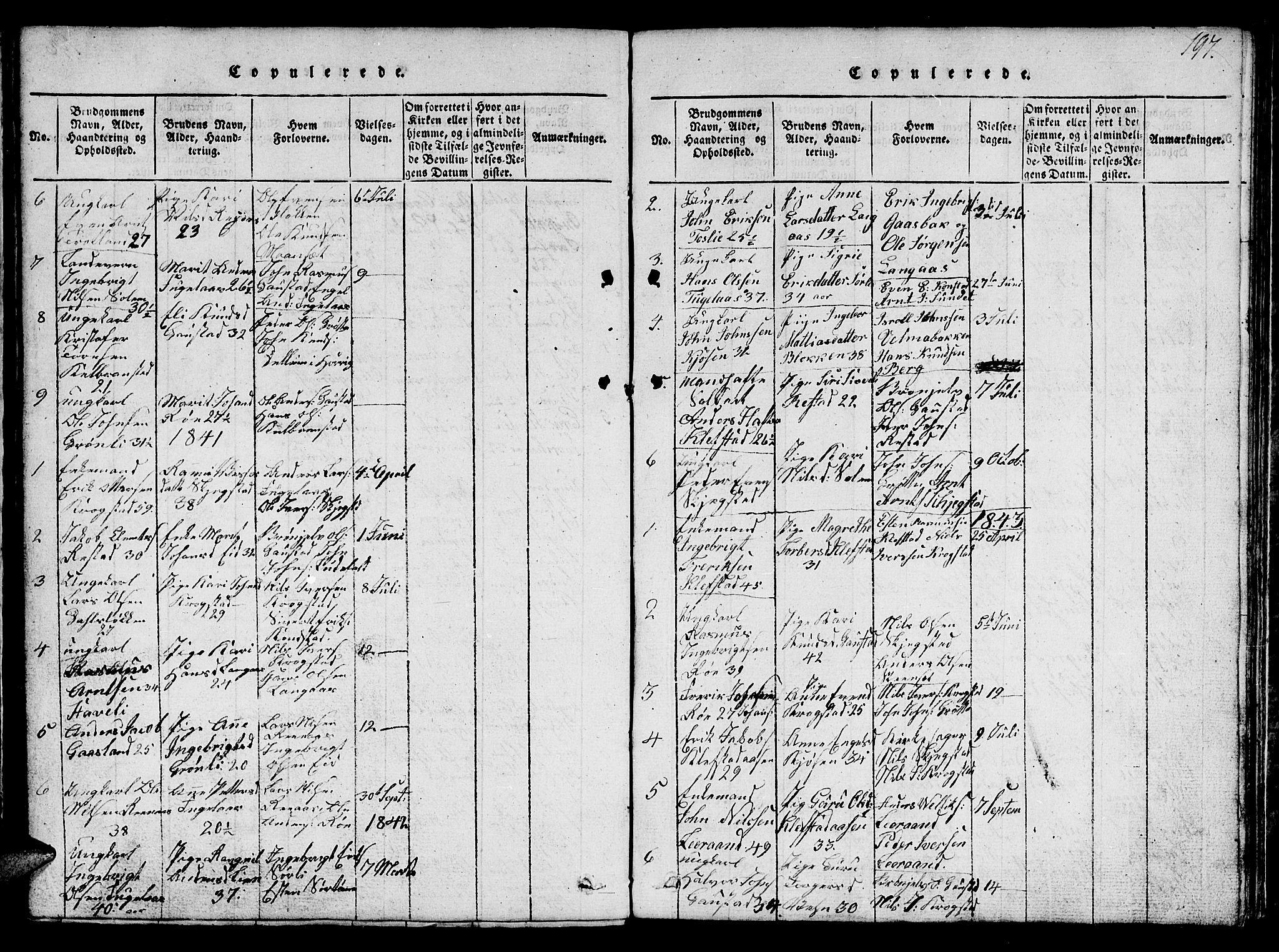 SAT, Ministerialprotokoller, klokkerbøker og fødselsregistre - Sør-Trøndelag, 694/L1130: Klokkerbok nr. 694C02, 1816-1857, s. 197