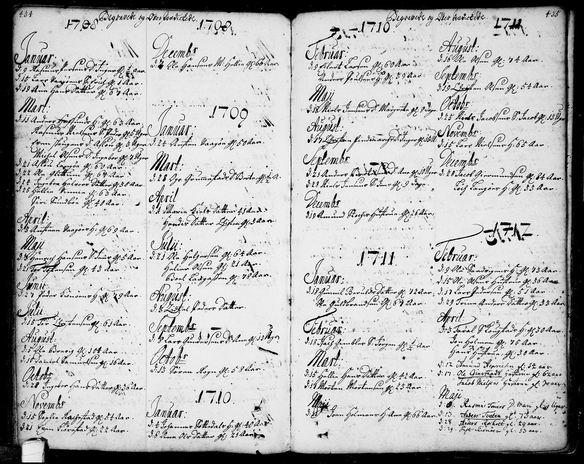 SAKO, Bamble kirkebøker, F/Fa/L0001: Ministerialbok nr. I 1, 1702-1774, s. 434-435