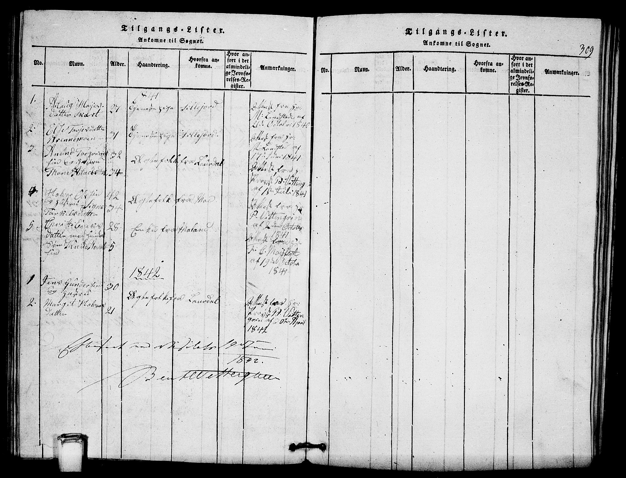 SAKO, Vinje kirkebøker, G/Gb/L0001: Klokkerbok nr. II 1, 1814-1843, s. 309