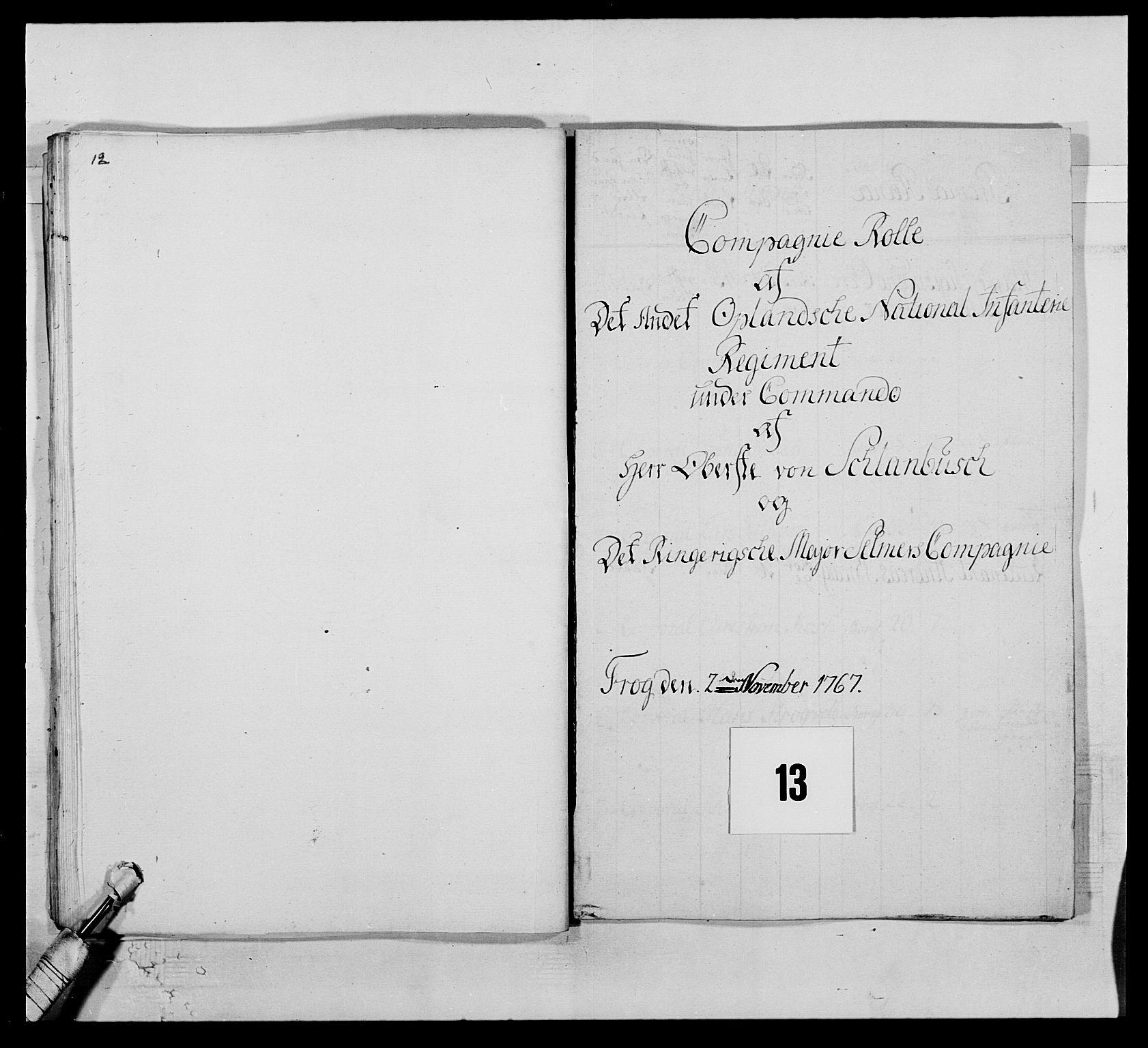 RA, Kommanderende general (KG I) med Det norske krigsdirektorium, E/Ea/L0507: 2. Opplandske regiment, 1766-1767, s. 283