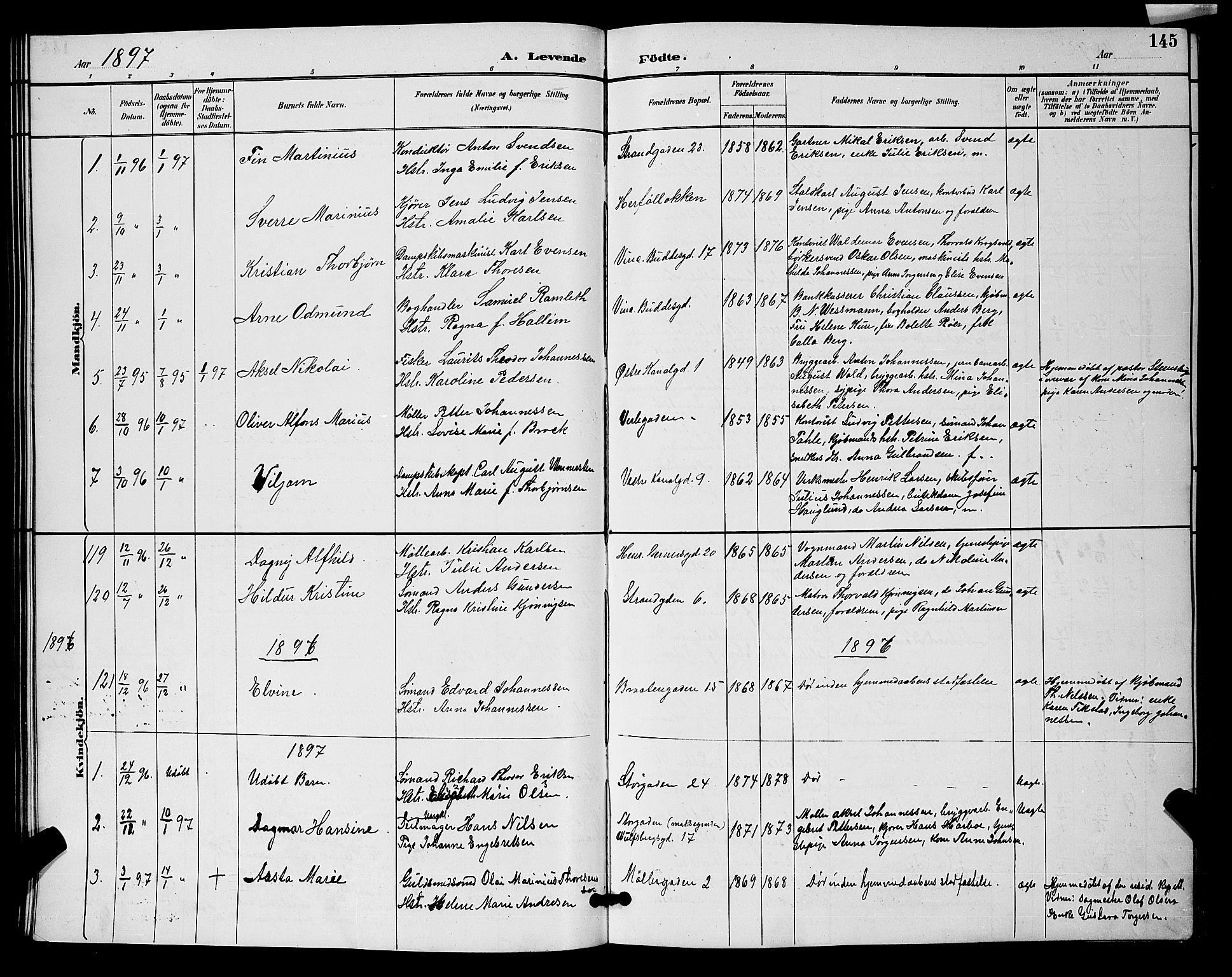 SAO, Moss prestekontor Kirkebøker, G/Ga/L0006: Klokkerbok nr. I 6, 1889-1900, s. 145