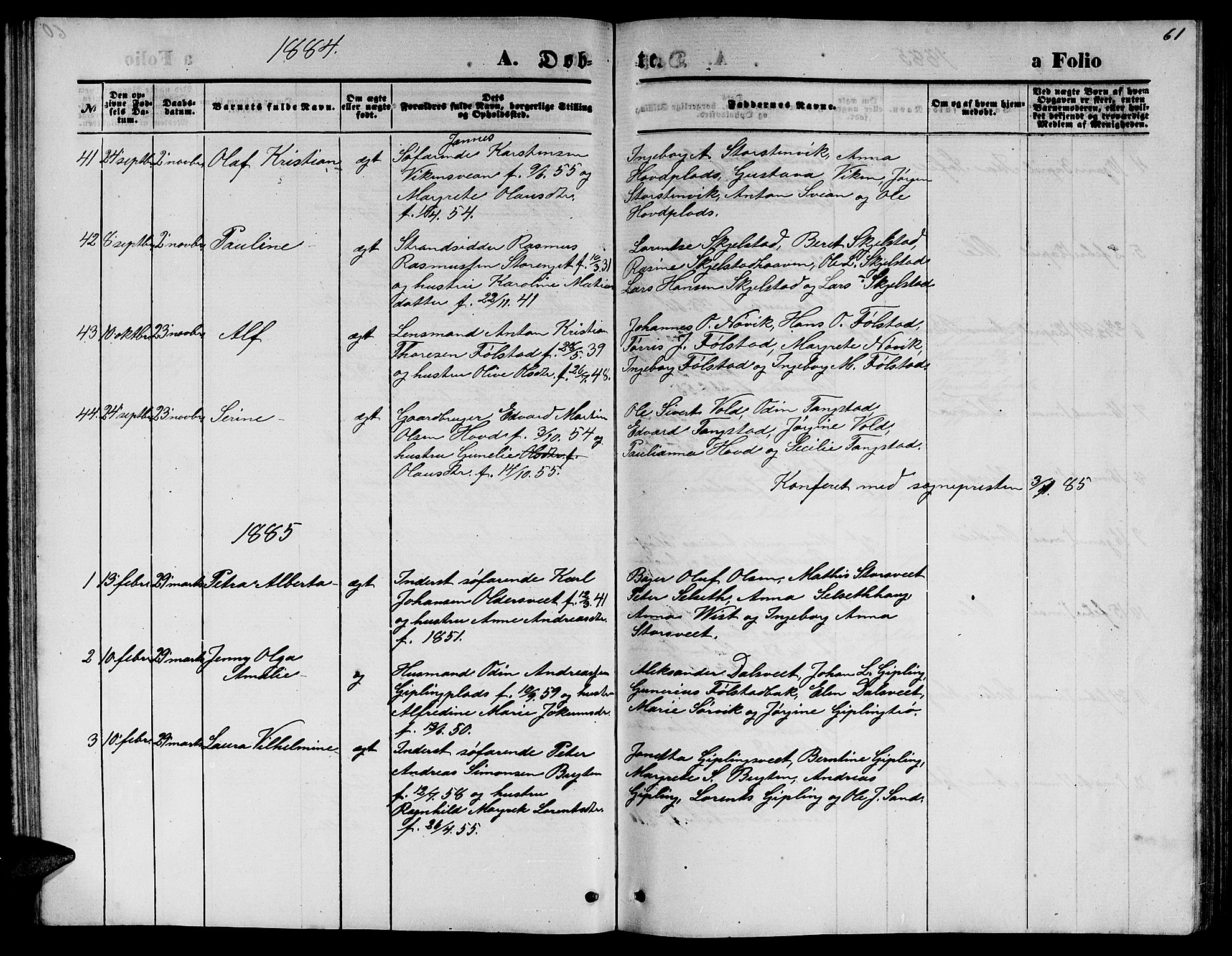 SAT, Ministerialprotokoller, klokkerbøker og fødselsregistre - Nord-Trøndelag, 744/L0422: Klokkerbok nr. 744C01, 1871-1885, s. 61
