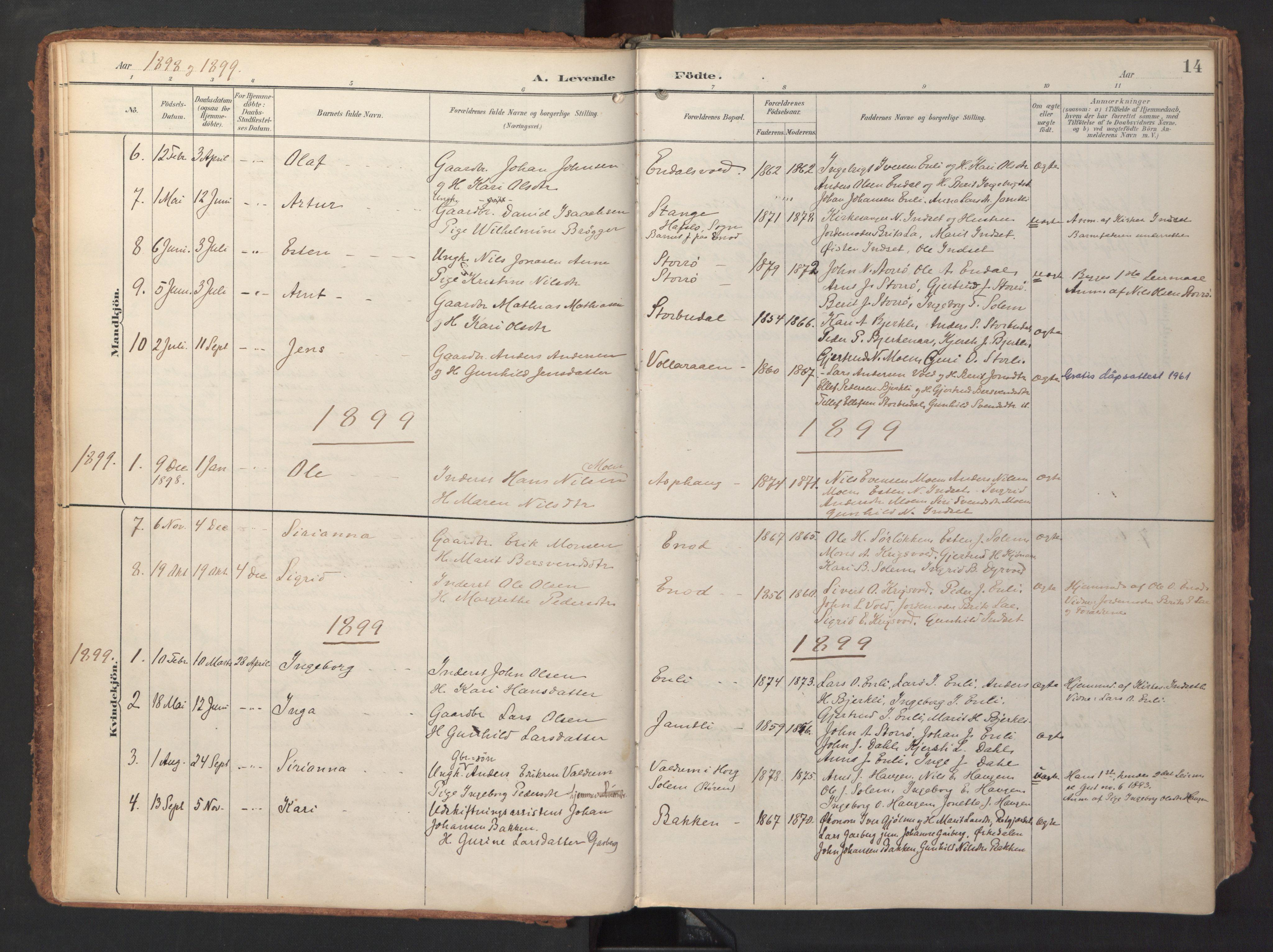 SAT, Ministerialprotokoller, klokkerbøker og fødselsregistre - Sør-Trøndelag, 690/L1050: Ministerialbok nr. 690A01, 1889-1929, s. 14