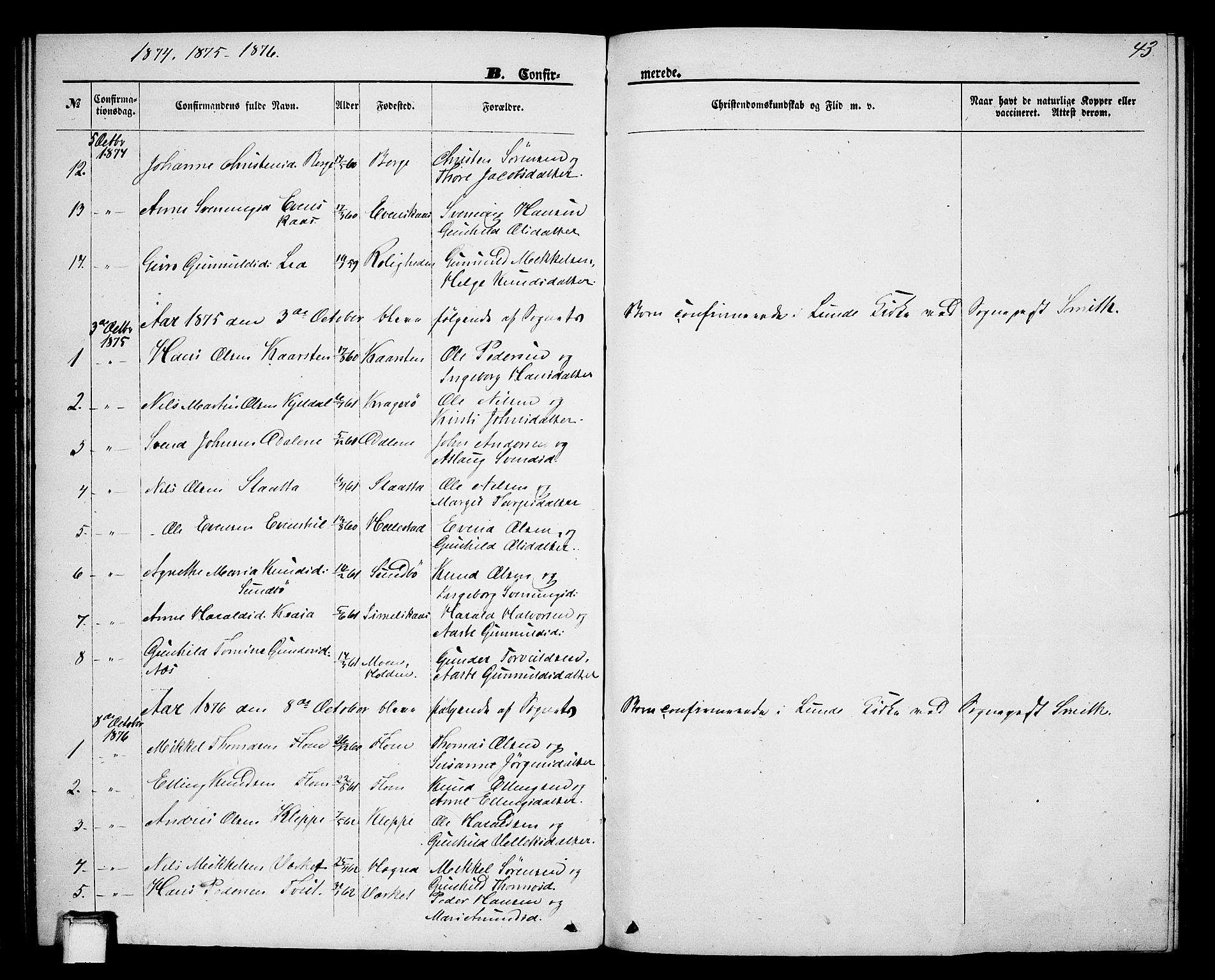 SAKO, Lunde kirkebøker, G/Gb/L0001: Klokkerbok nr. II 1, 1866-1887, s. 43