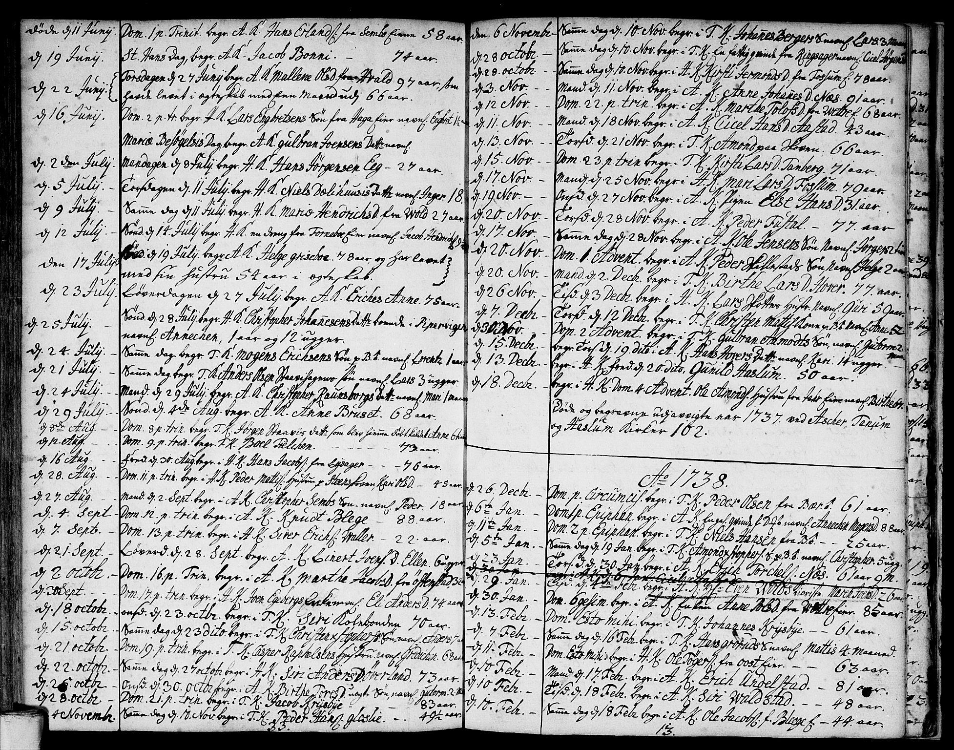 SAO, Asker prestekontor Kirkebøker, F/Fa/L0001: Ministerialbok nr. I 1, 1726-1744, s. 101