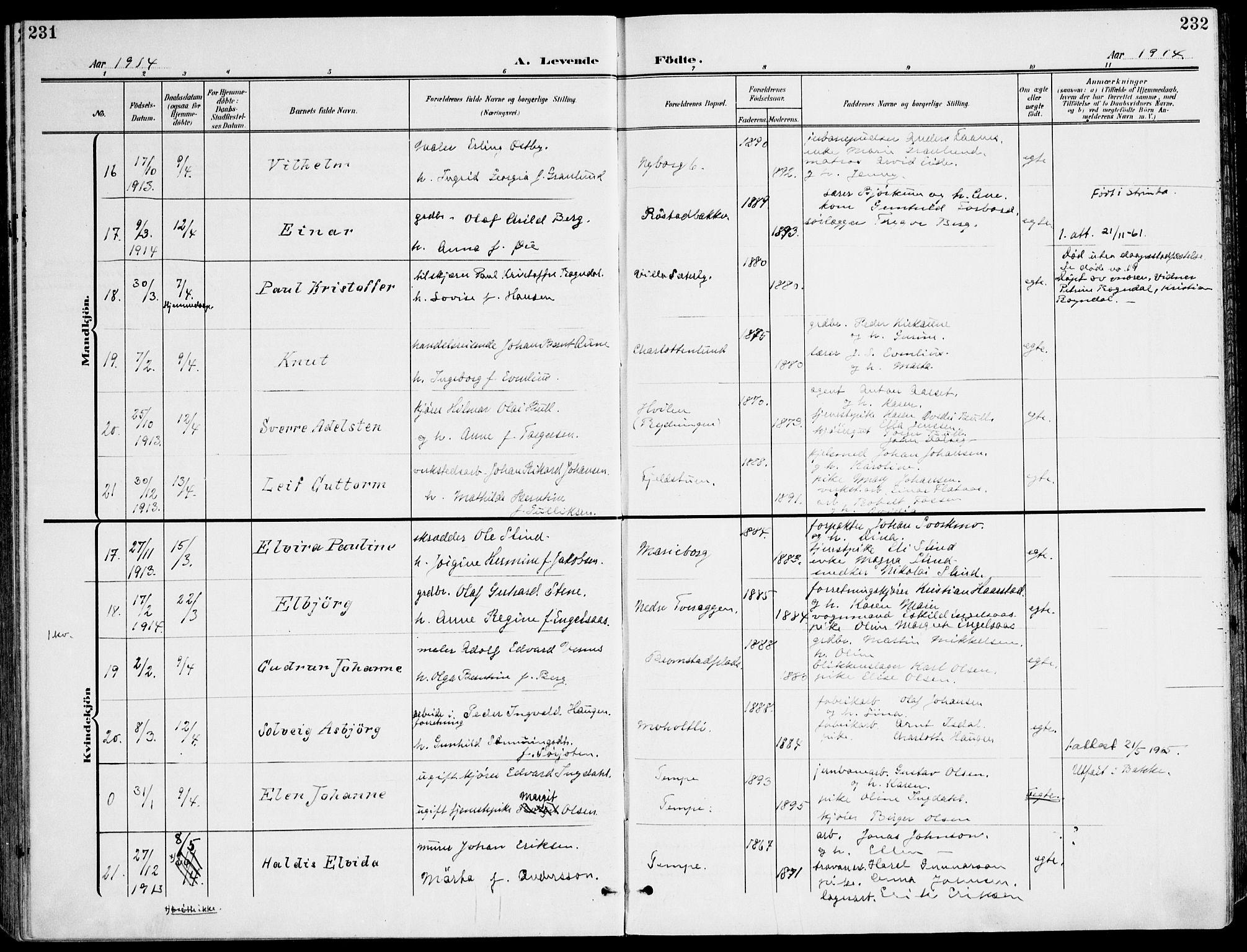 SAT, Ministerialprotokoller, klokkerbøker og fødselsregistre - Sør-Trøndelag, 607/L0320: Ministerialbok nr. 607A04, 1907-1915, s. 231-232
