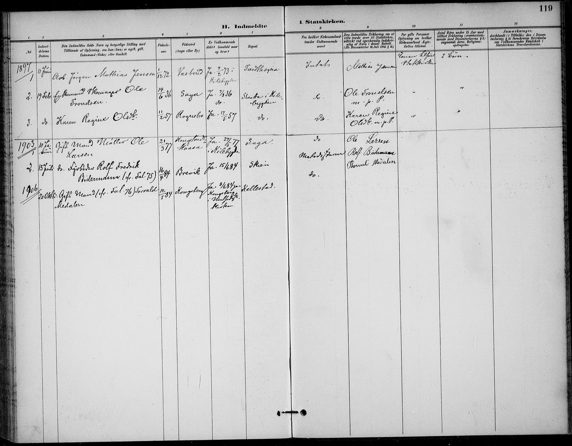 SAKO, Solum kirkebøker, F/Fc/L0002: Ministerialbok nr. III 2, 1892-1906, s. 119