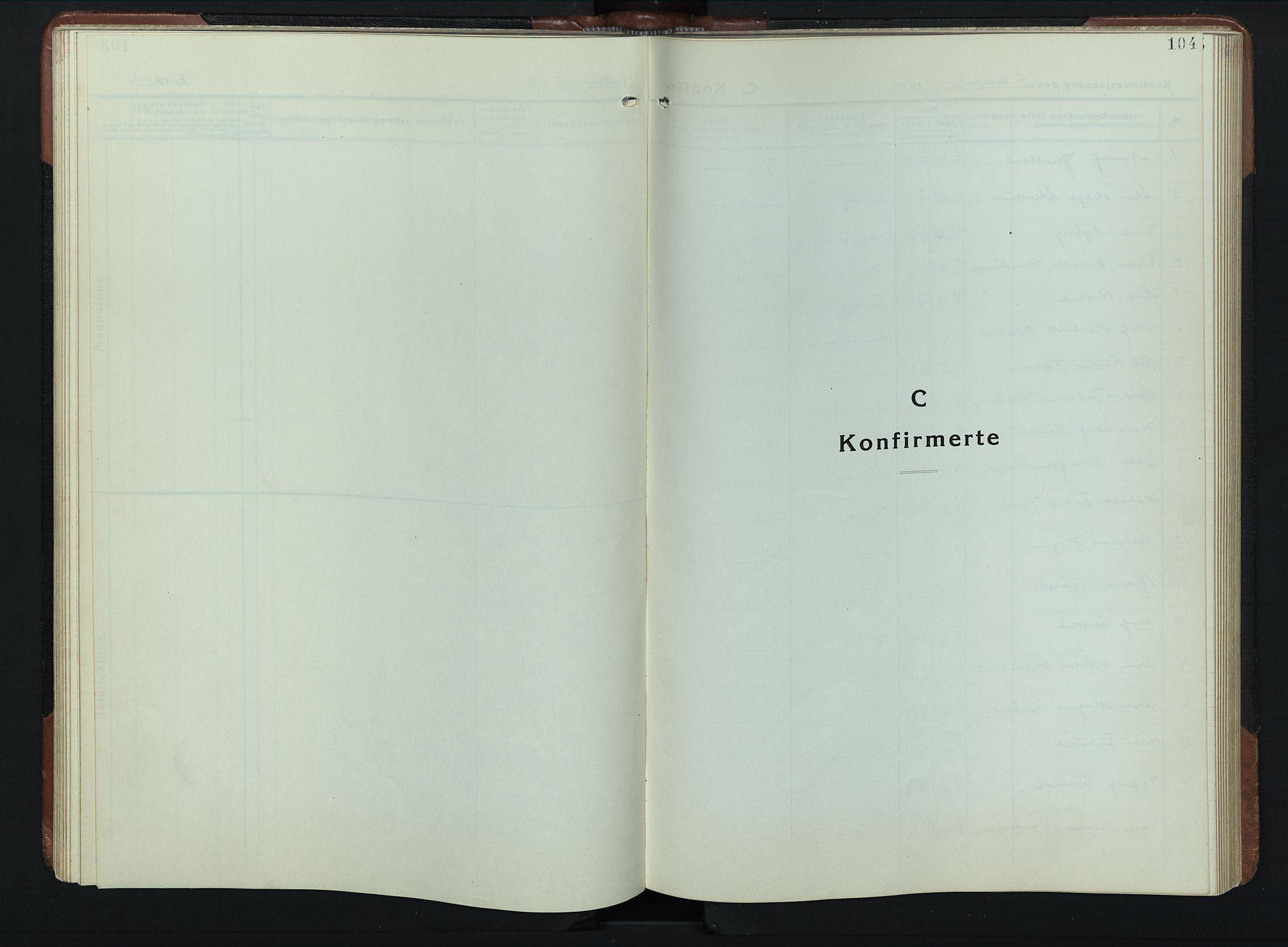 SAH, Vardal prestekontor, H/Ha/Hab/L0023: Klokkerbok nr. 23, 1929-1941, s. 104
