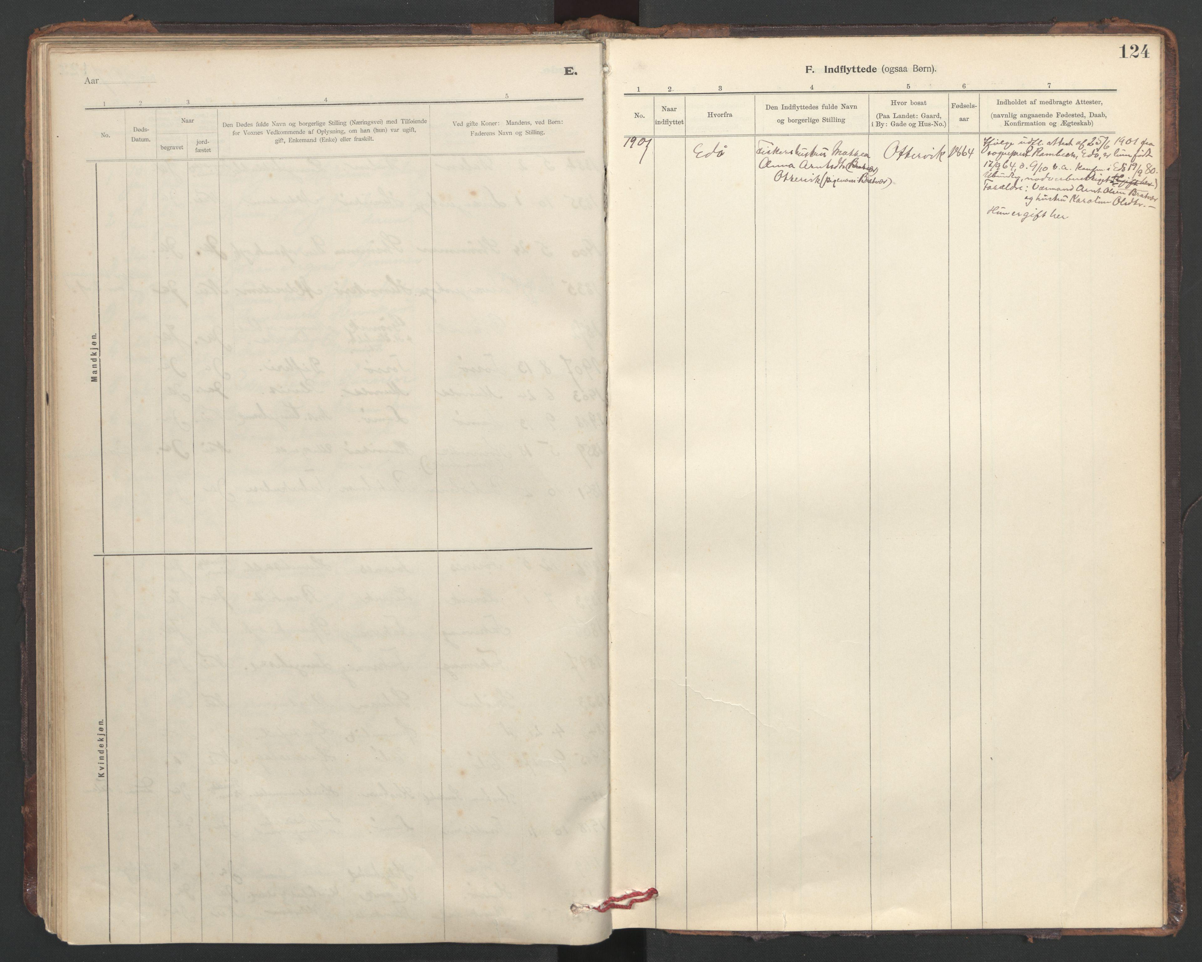 SAT, Ministerialprotokoller, klokkerbøker og fødselsregistre - Sør-Trøndelag, 635/L0552: Ministerialbok nr. 635A02, 1899-1919, s. 124