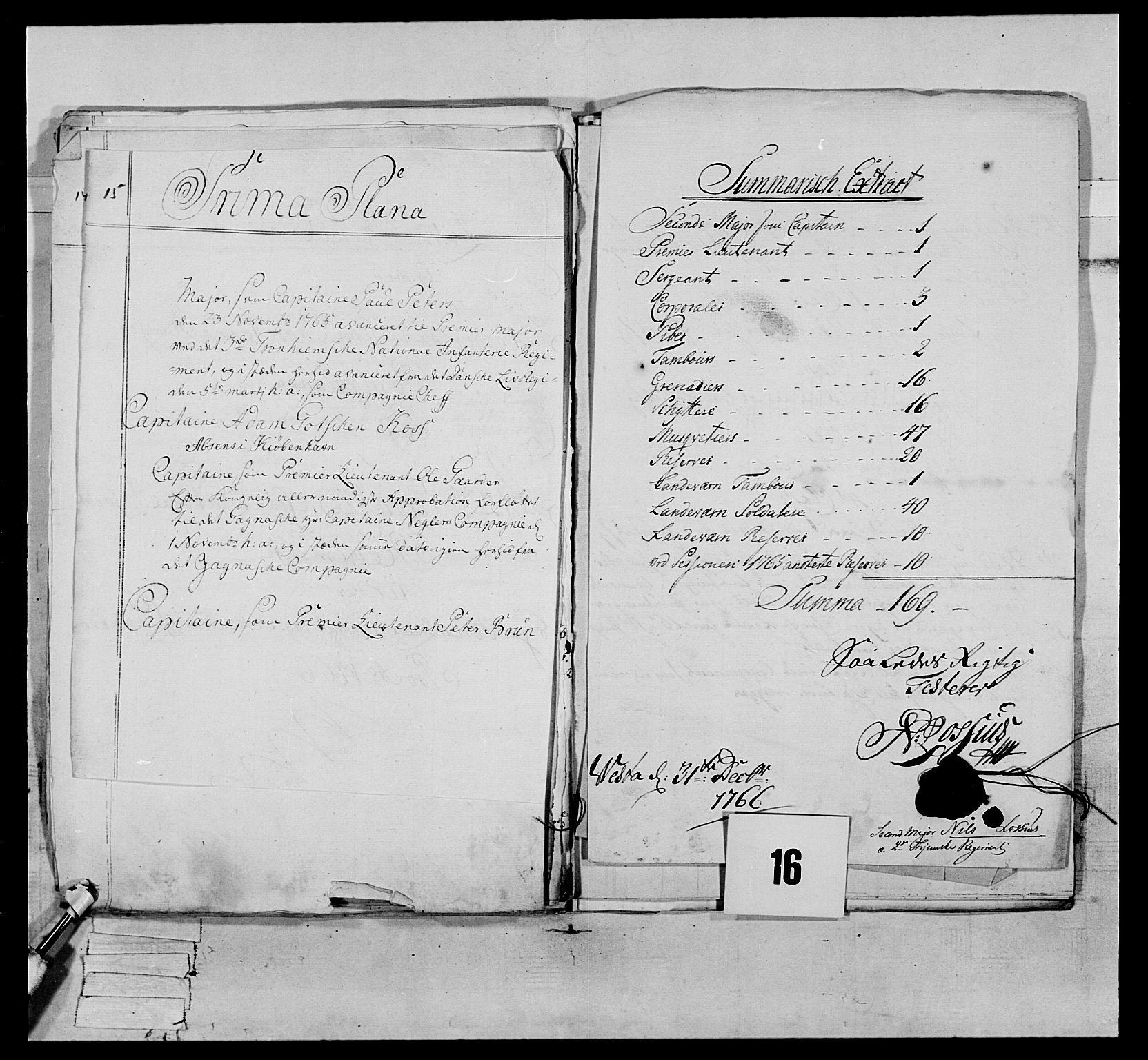 RA, Generalitets- og kommissariatskollegiet, Det kongelige norske kommissariatskollegium, E/Eh/L0076: 2. Trondheimske nasjonale infanteriregiment, 1766-1773, s. 29