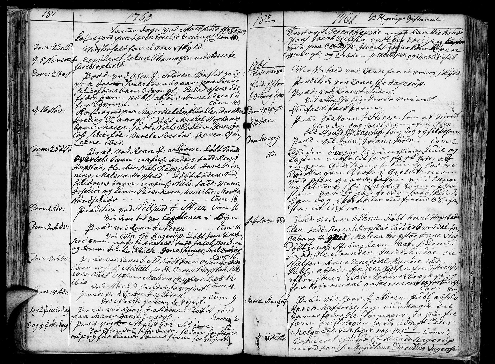 SAT, Ministerialprotokoller, klokkerbøker og fødselsregistre - Sør-Trøndelag, 657/L0700: Ministerialbok nr. 657A01, 1732-1801, s. 181-182