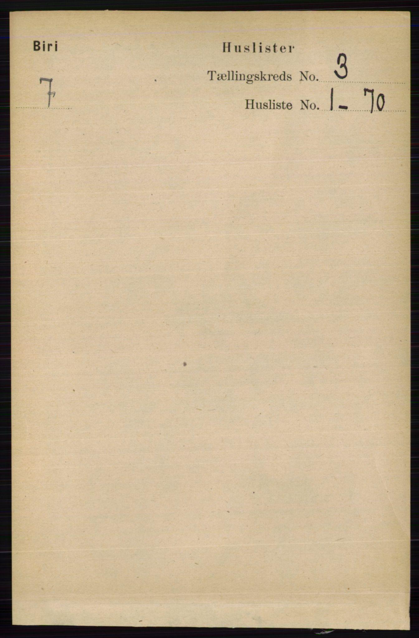 RA, Folketelling 1891 for 0525 Biri herred, 1891, s. 829