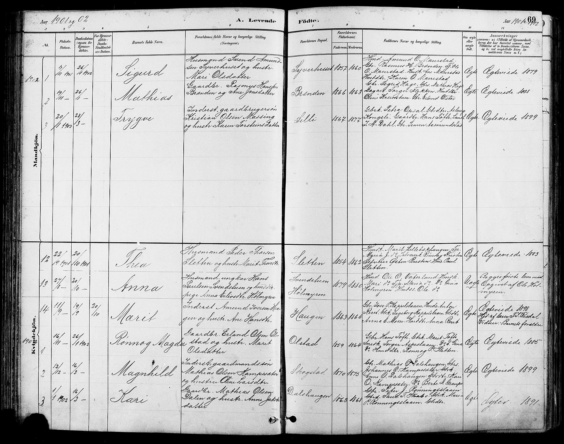 SAH, Nord-Fron prestekontor, Klokkerbok nr. 5, 1884-1914, s. 69