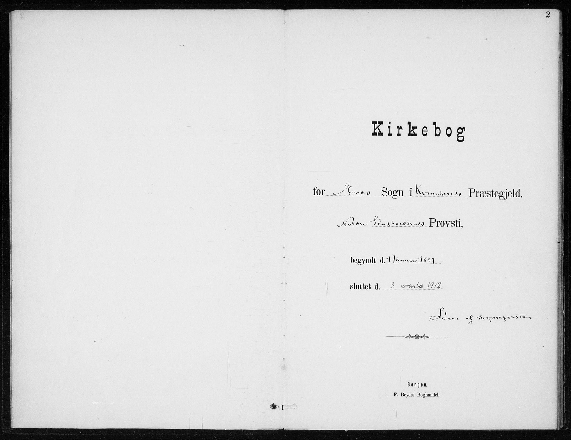 SAB, Kvinnherad Sokneprestembete, H/Haa: Ministerialbok nr. F 1, 1887-1912, s. 2