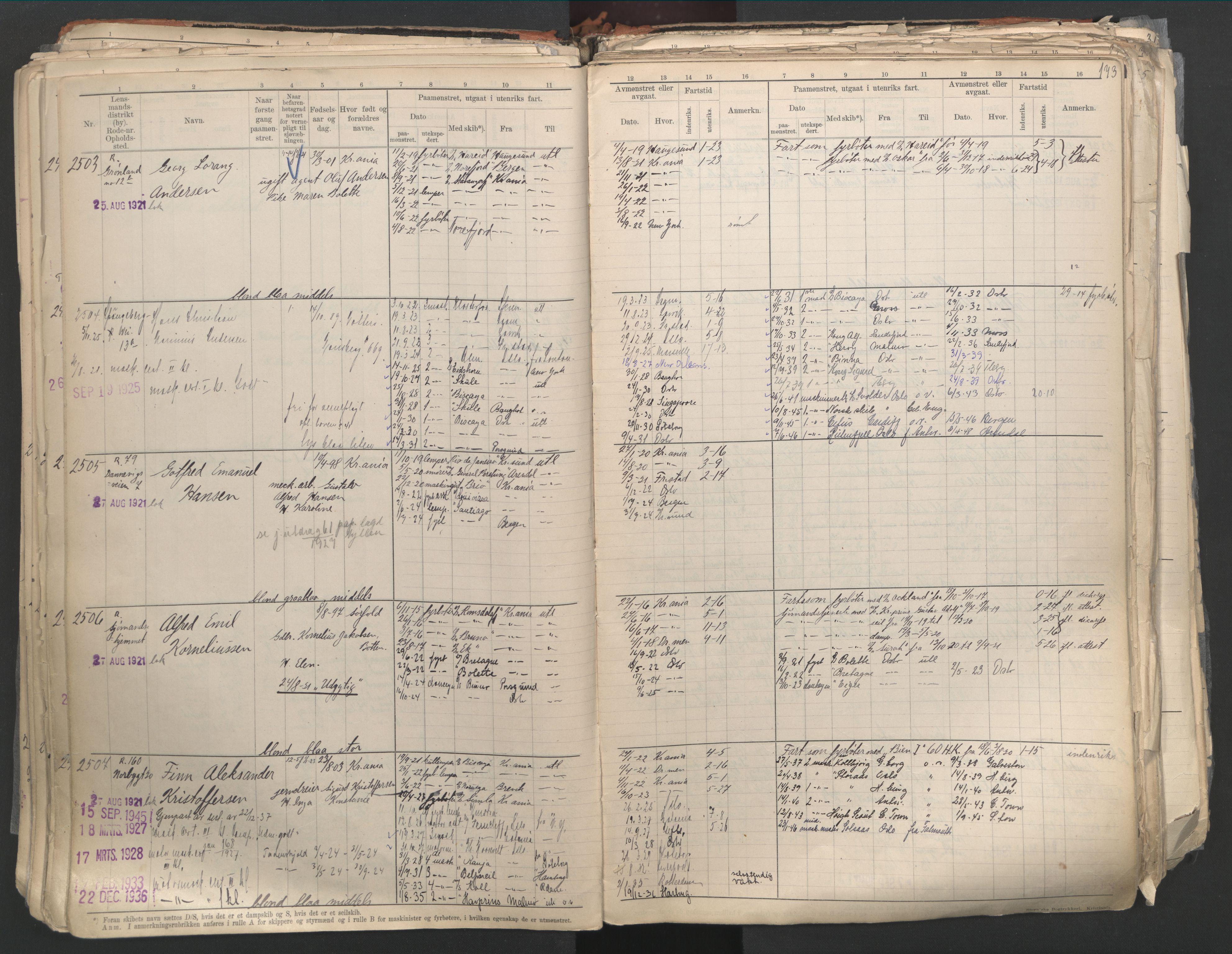 SAO, Oslo sjømannskontor, F/Fd/L0003: B-rulle, 1916, s. 172b-173a