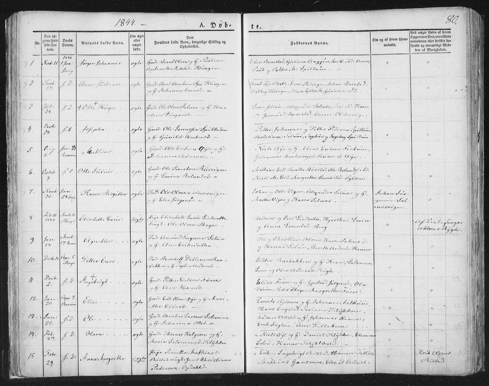 SAT, Ministerialprotokoller, klokkerbøker og fødselsregistre - Nord-Trøndelag, 764/L0551: Ministerialbok nr. 764A07a, 1824-1864, s. 80