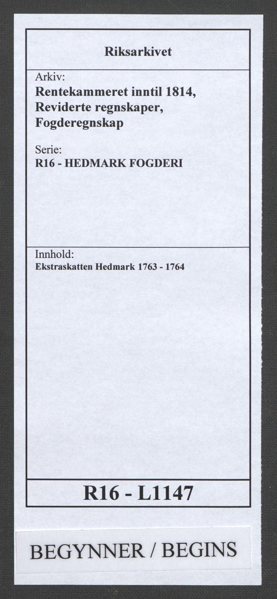 RA, Rentekammeret inntil 1814, Reviderte regnskaper, Fogderegnskap, R16/L1147: Ekstraskatten Hedmark, 1763-1764, s. 1