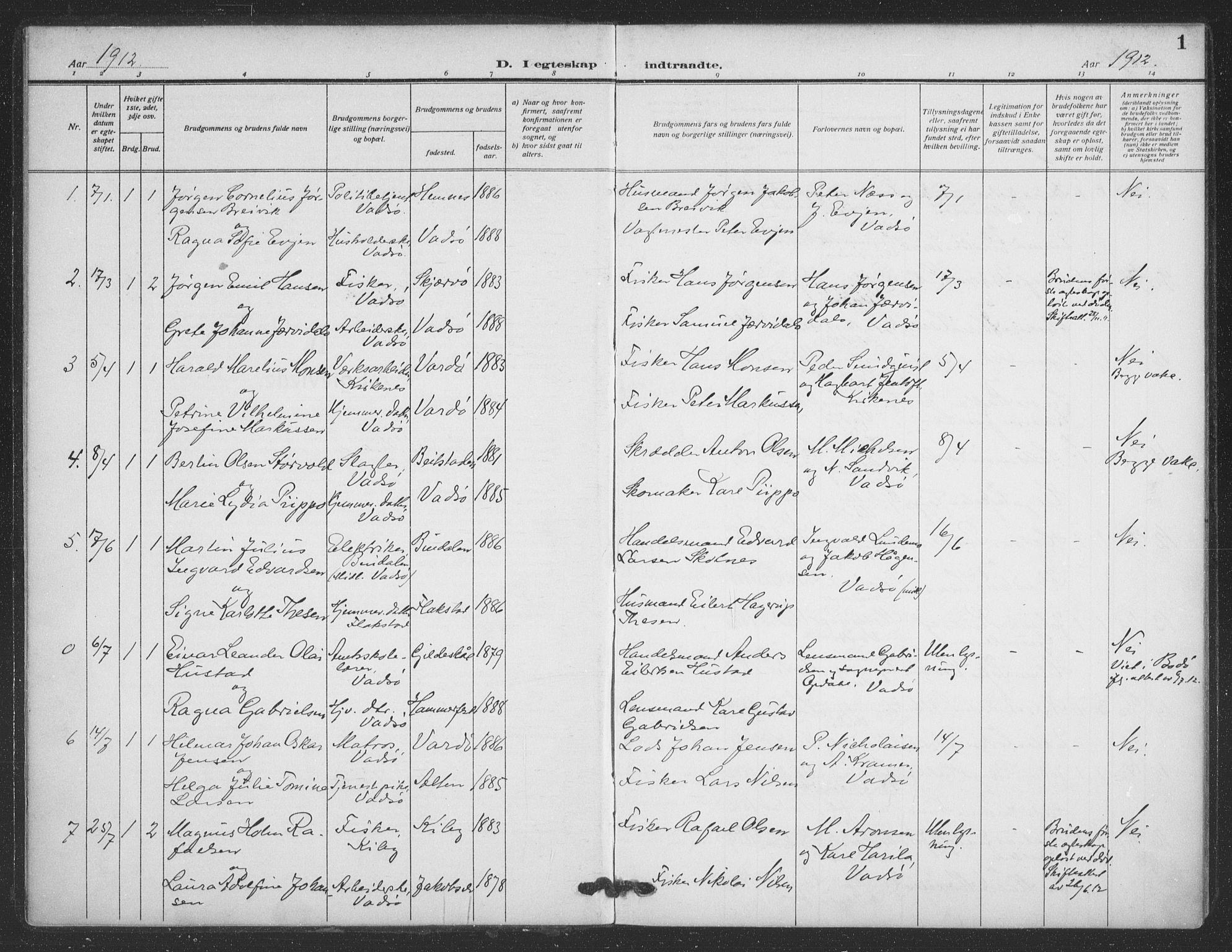 SATØ, Vadsø sokneprestkontor, H/Ha/L0008kirke: Ministerialbok nr. 8, 1912-1930, s. 1