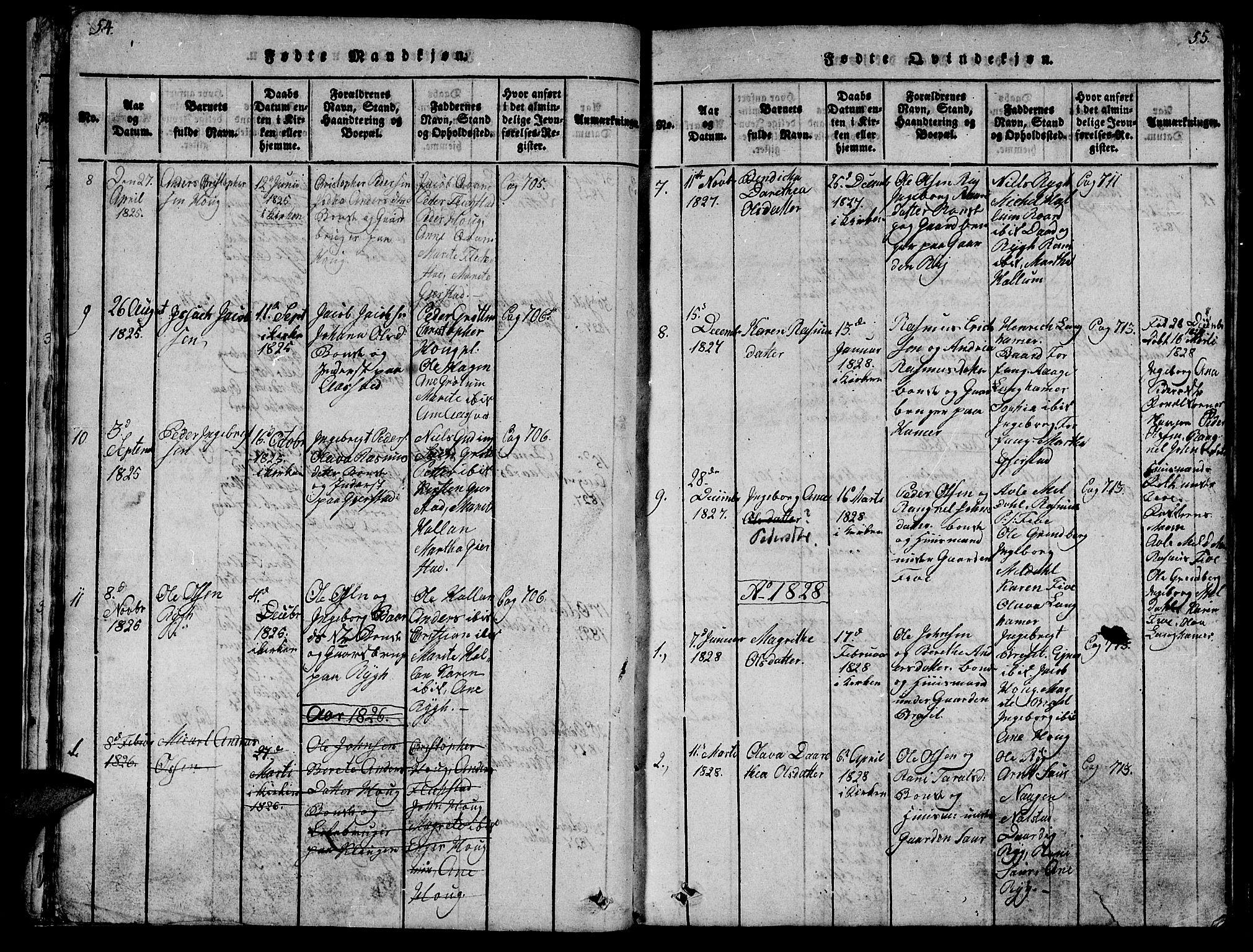 SAT, Ministerialprotokoller, klokkerbøker og fødselsregistre - Nord-Trøndelag, 747/L0459: Klokkerbok nr. 747C01, 1816-1842, s. 54-55