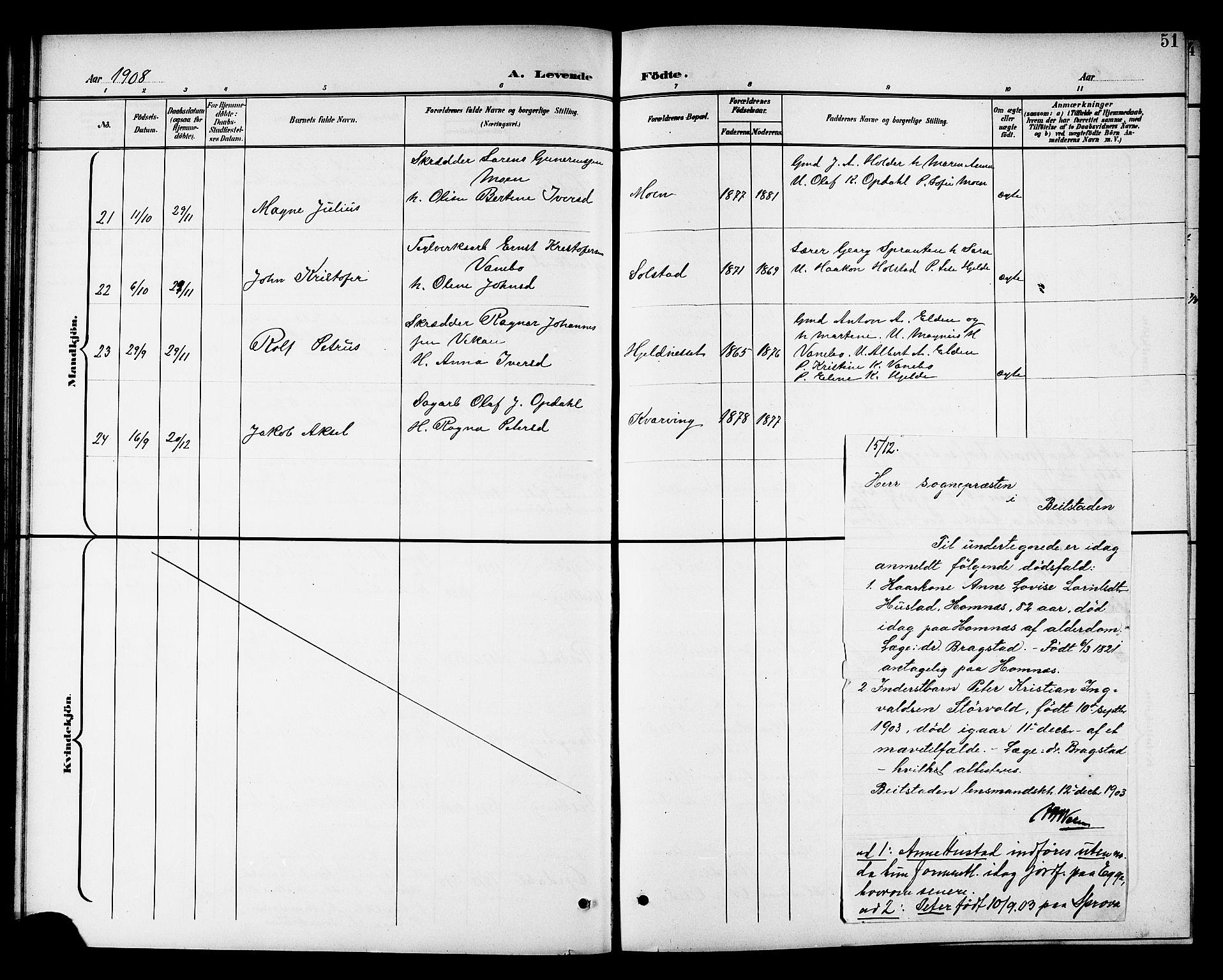 SAT, Ministerialprotokoller, klokkerbøker og fødselsregistre - Nord-Trøndelag, 741/L0401: Klokkerbok nr. 741C02, 1899-1911, s. 51