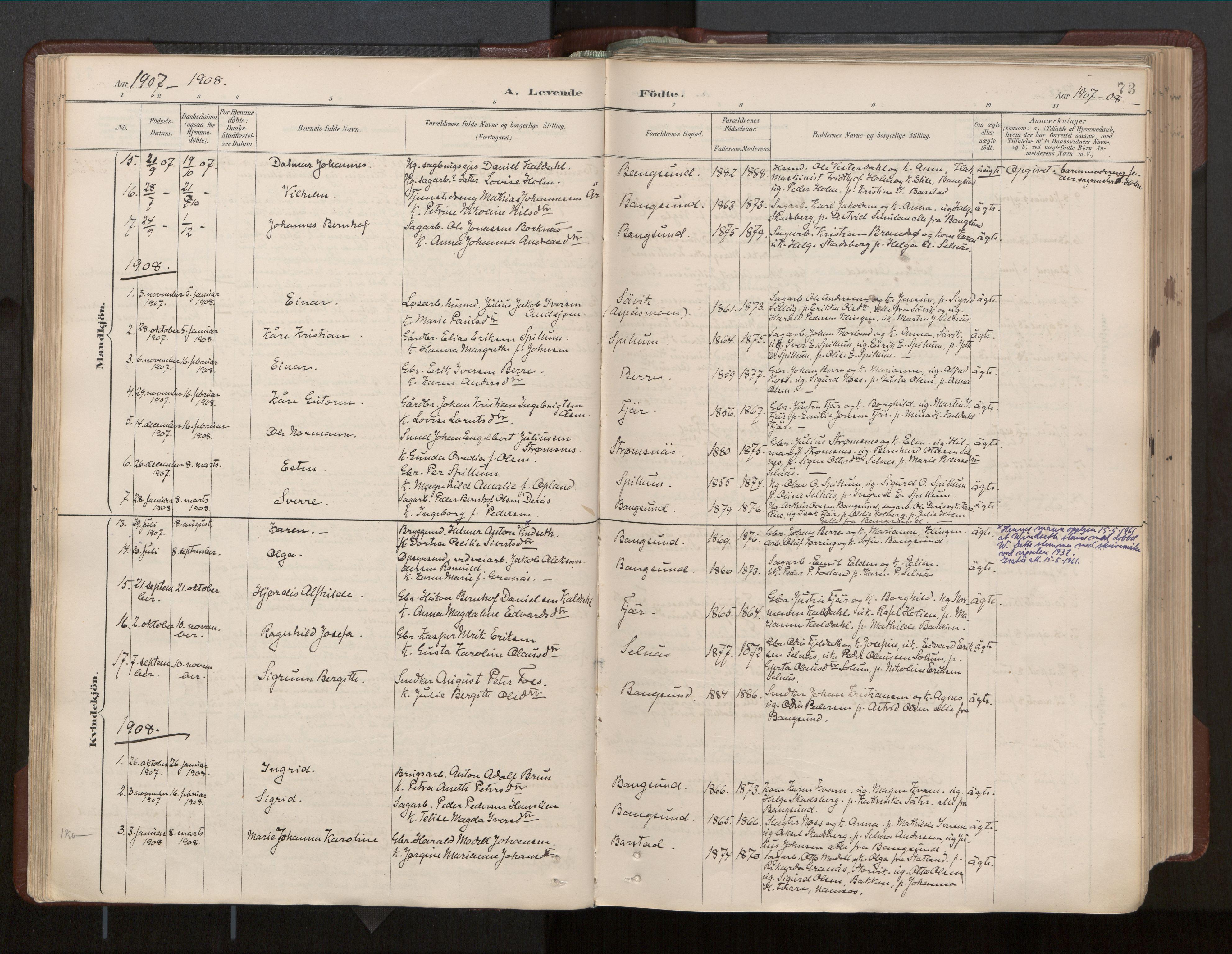 SAT, Ministerialprotokoller, klokkerbøker og fødselsregistre - Nord-Trøndelag, 770/L0589: Ministerialbok nr. 770A03, 1887-1929, s. 73