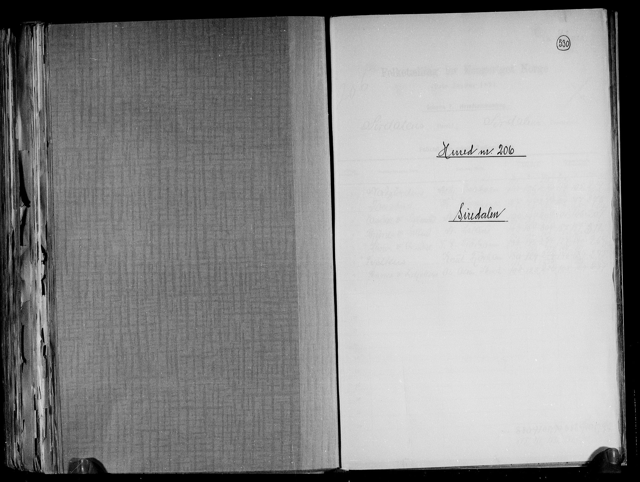 RA, Folketelling 1891 for 1046 Sirdal herred, 1891, s. 1